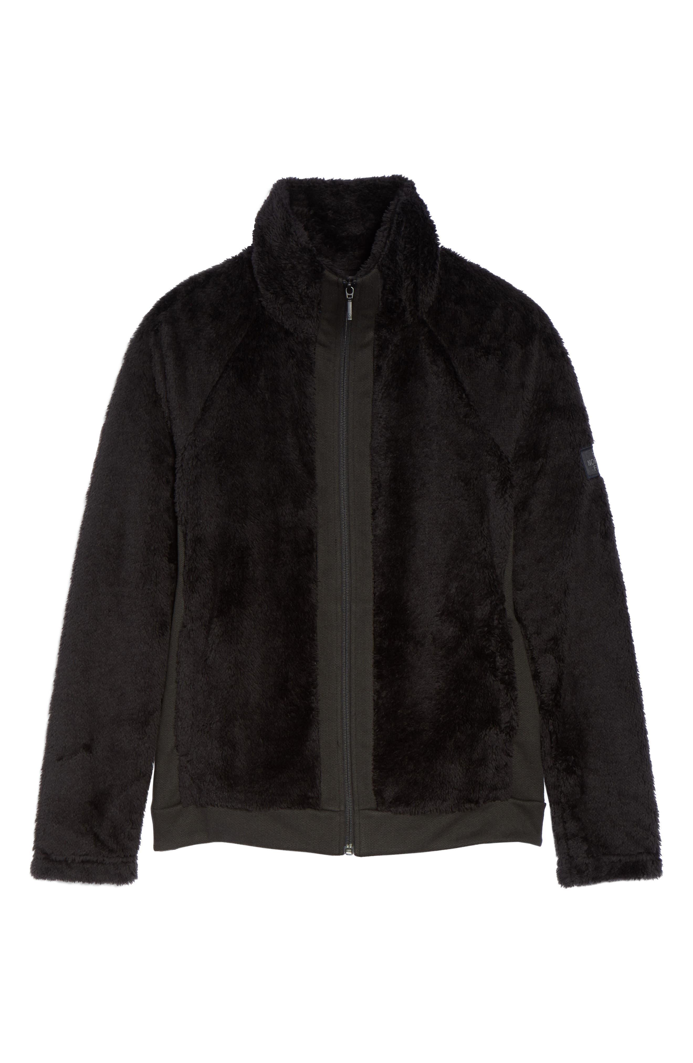THE NORTH FACE, Furry Fleece Jacket, Alternate thumbnail 6, color, TNF BLACK