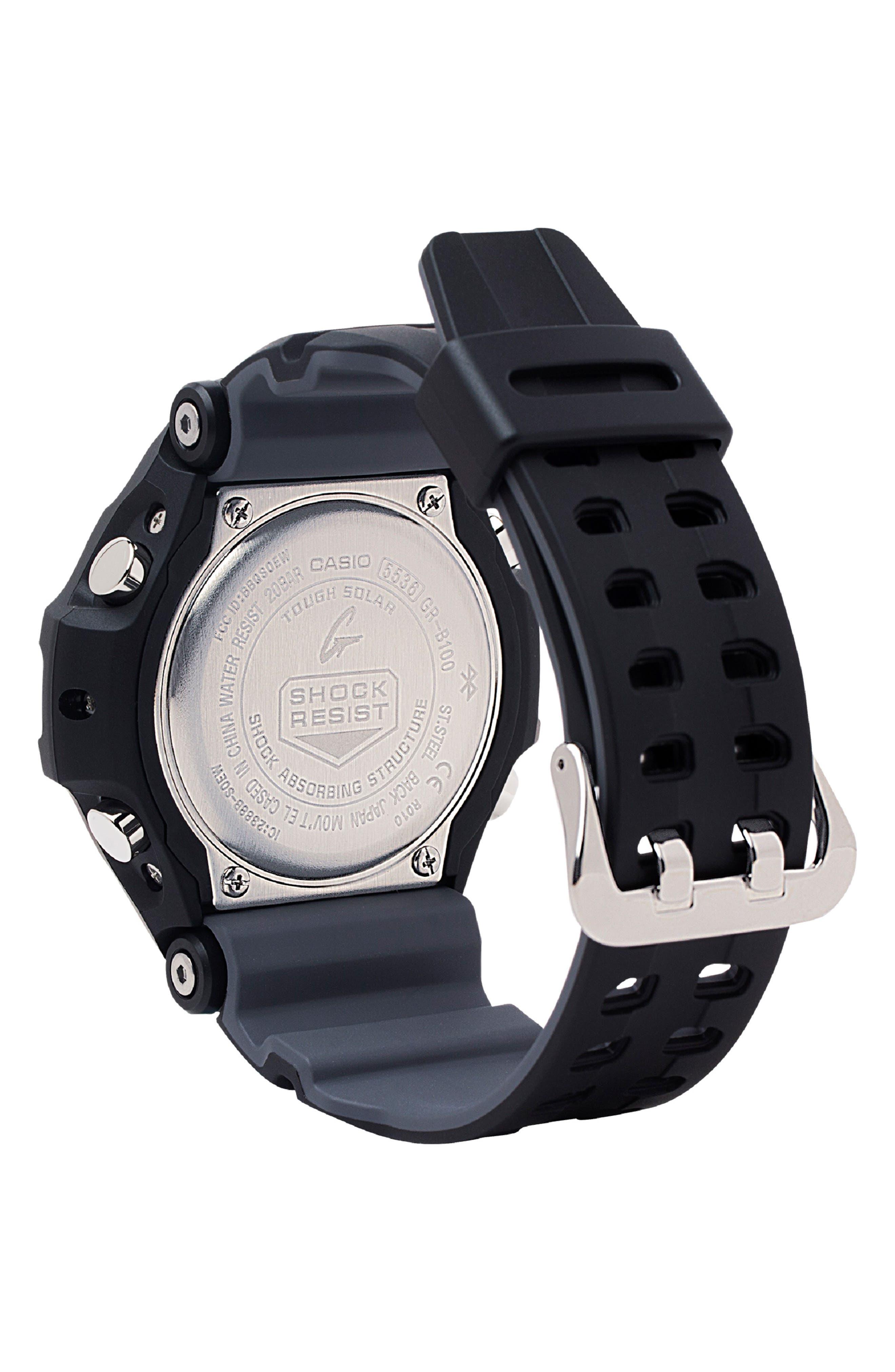 G-SHOCK BABY-G, G-Shock GravityMaster Ana-Digi Bluetooth<sup>®</sup> Enabled Resin Strap Watch, 49mm, Alternate thumbnail 2, color, BLACK MULTI