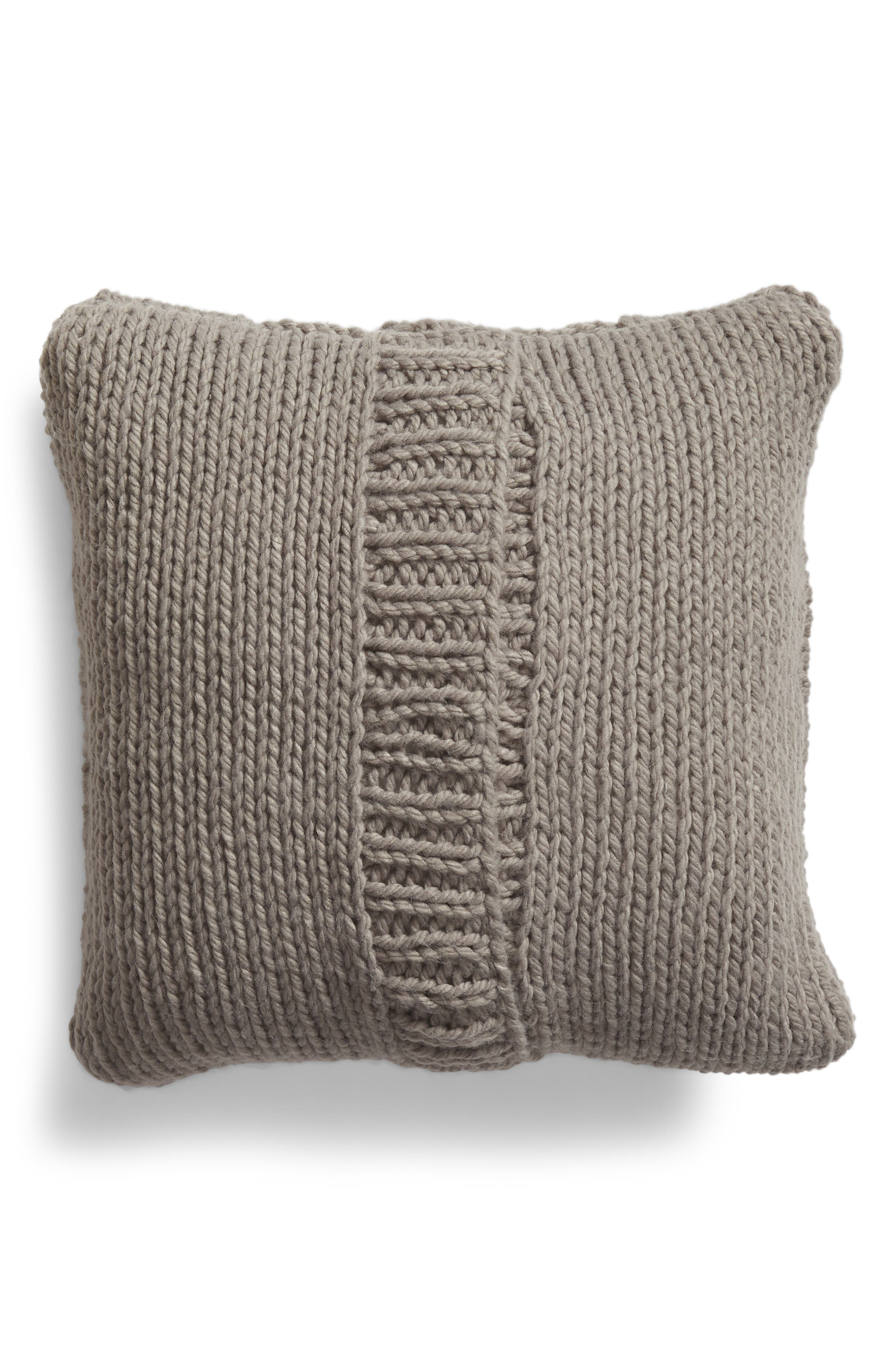 NORDSTROM AT HOME, Cable Knit Accent Pillow, Alternate thumbnail 2, color, GREY FROST