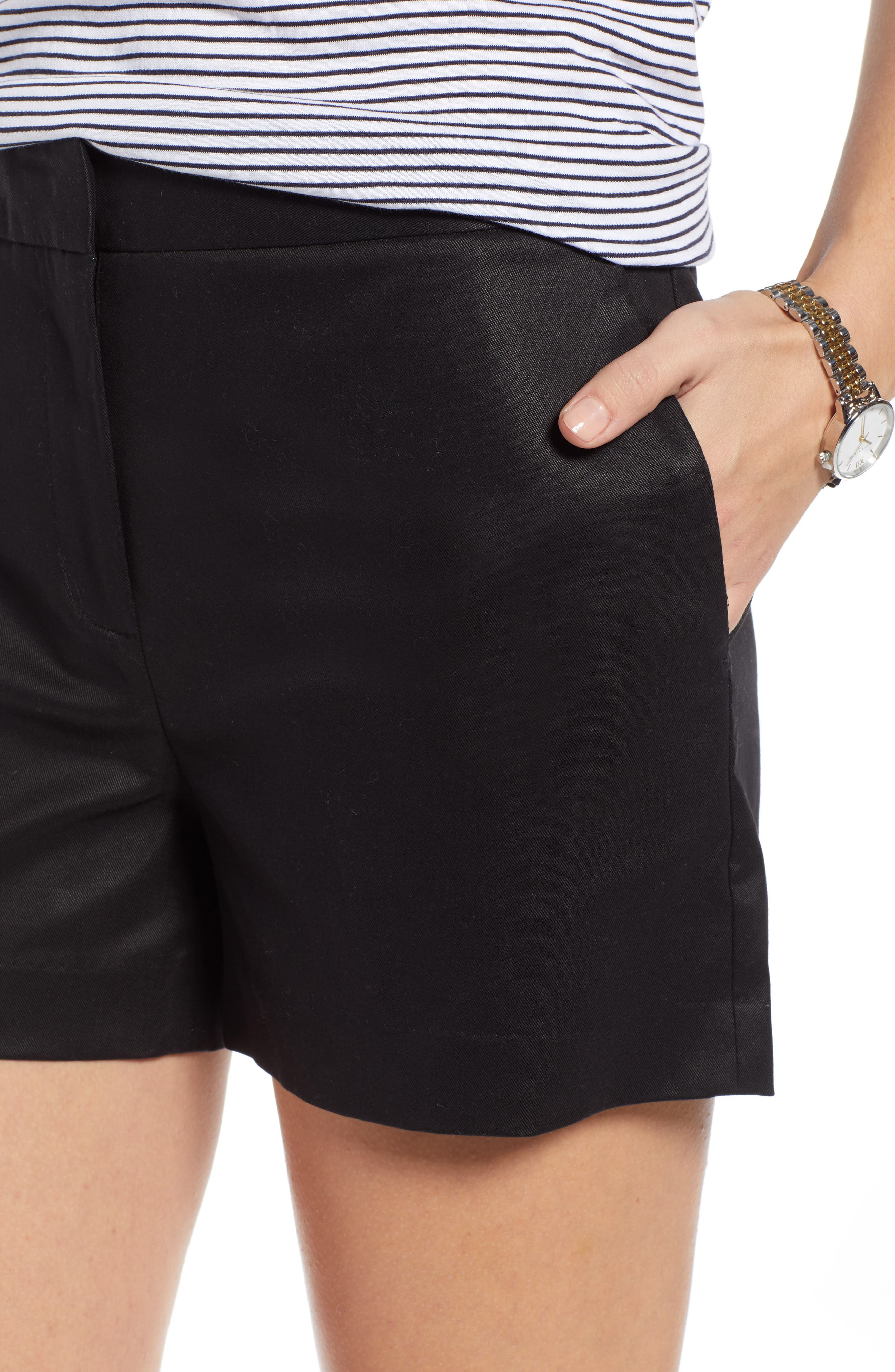1901, Simple Shorts, Alternate thumbnail 4, color, BLACK