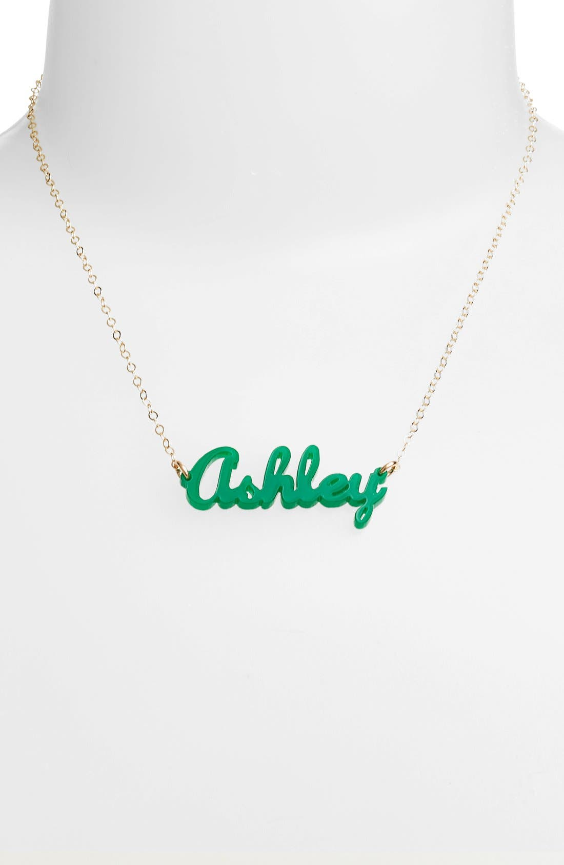 MOON AND LOLA, 'Script Font' Personalized Nameplate Pendant Necklace, Alternate thumbnail 2, color, EMERALD/ GOLD