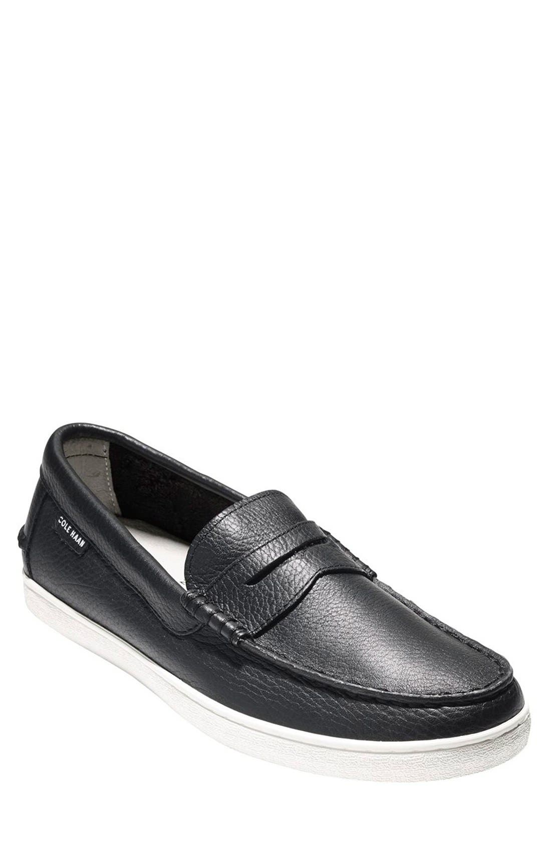 COLE HAAN, 'Pinch' Penny Loafer, Alternate thumbnail 10, color, BLACK LEATHER/ WHITE