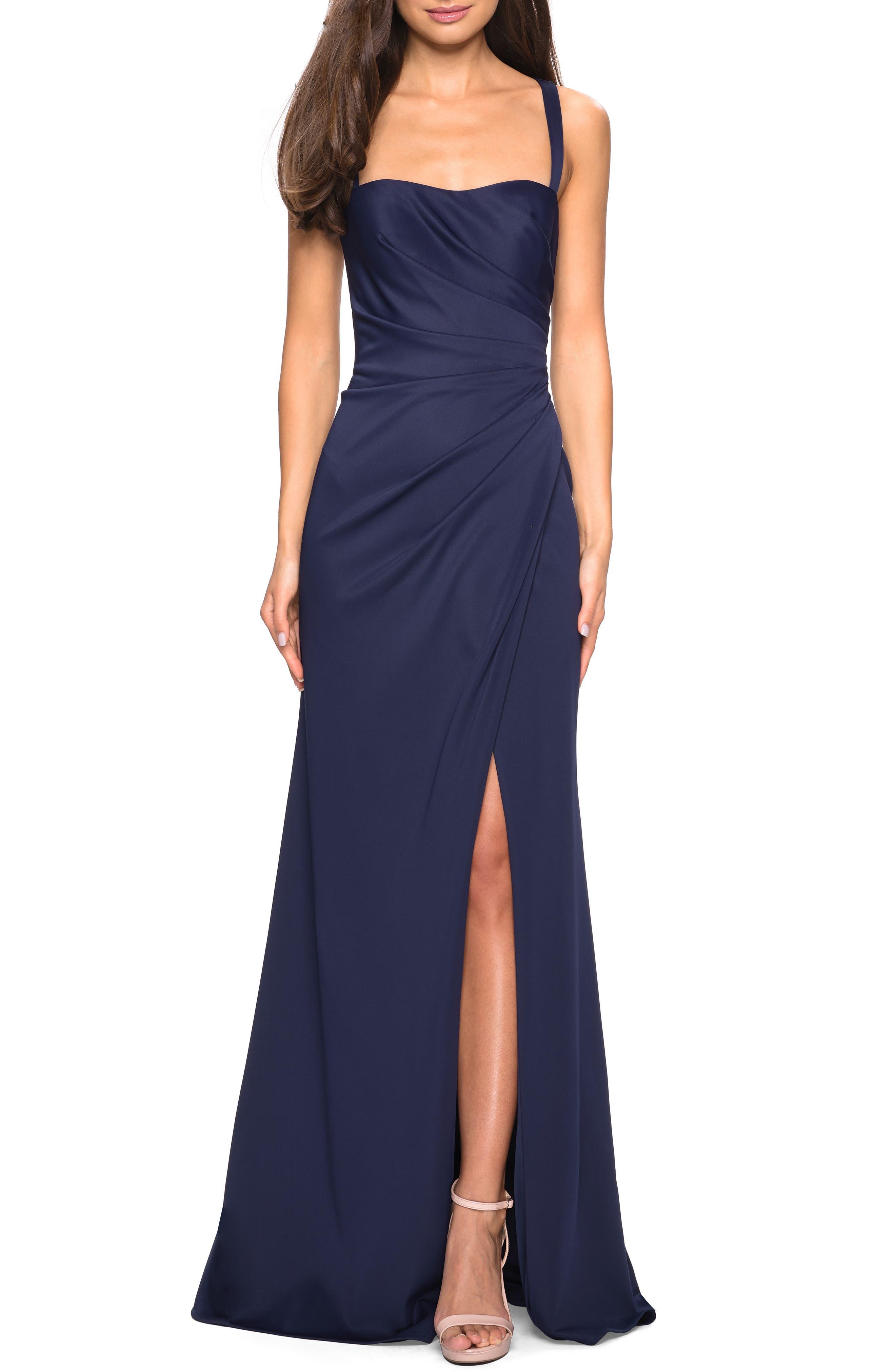 La Femme Ruched Soft Jersey Evening Dress, Blue