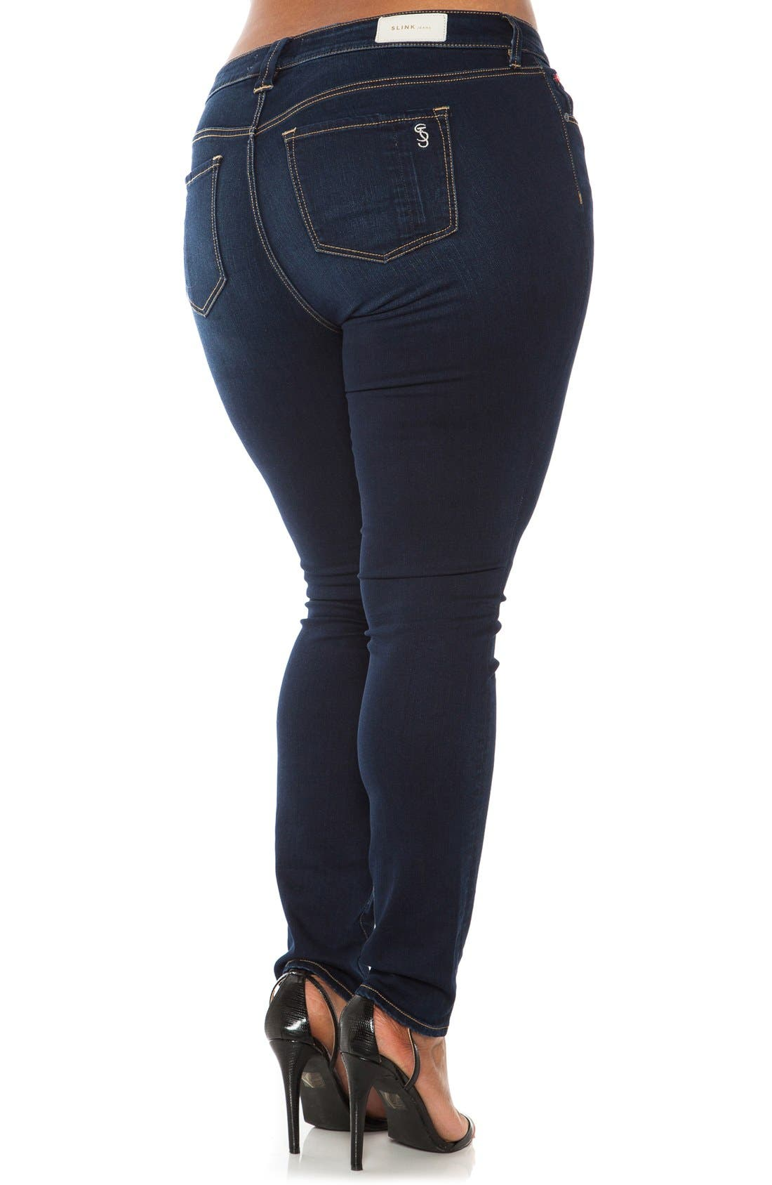 SLINK JEANS, 'The Skinny' Stretch Denim Jeans, Alternate thumbnail 7, color, AMBER