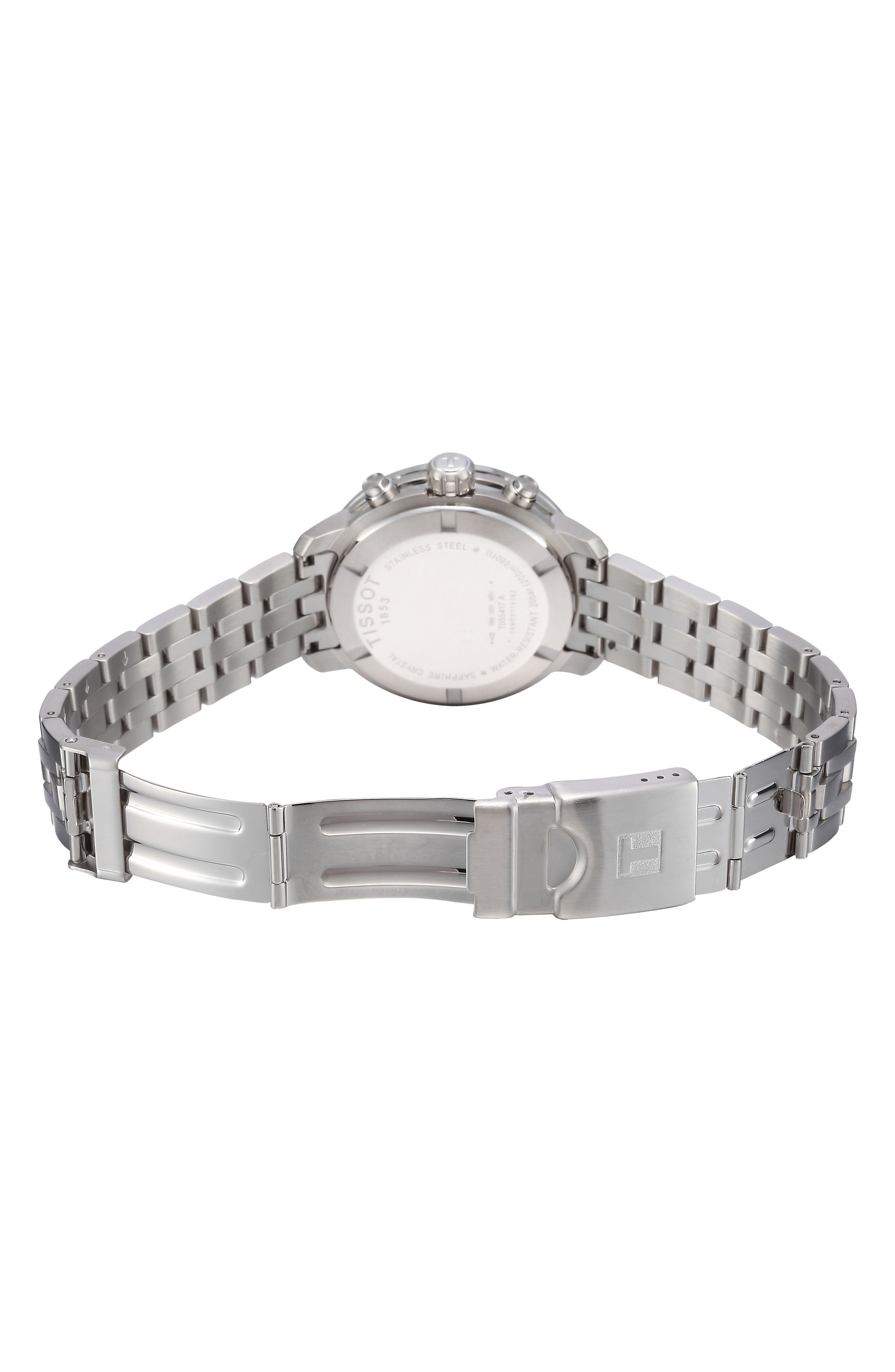 TISSOT, PRC200 Chronograph Bracelet Watch, 42mm, Alternate thumbnail 7, color, SILVER/ BLACK/ SILVER