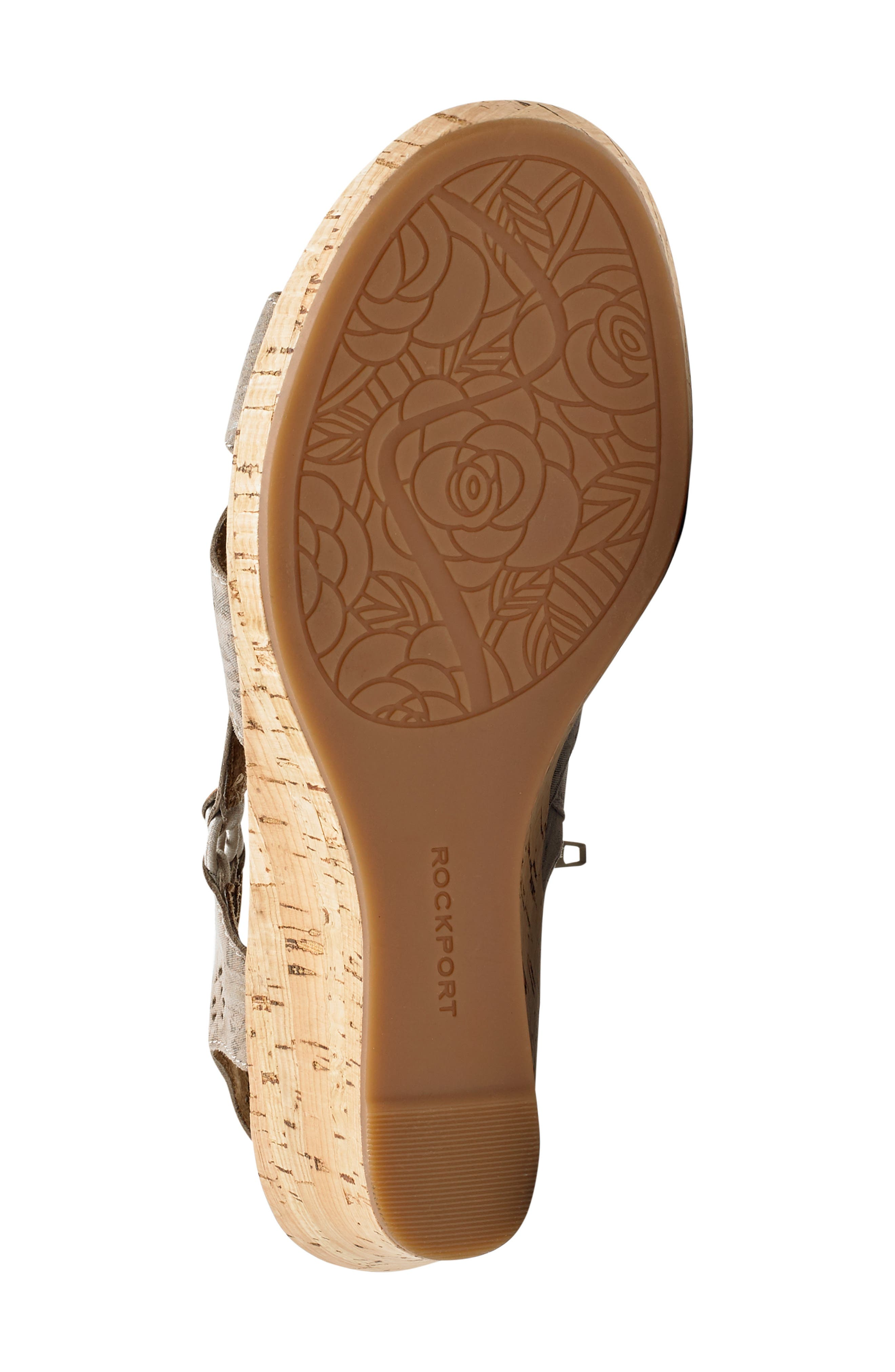 ROCKPORT COBB HILL, Janna Perforated Wedge Sandal, Alternate thumbnail 6, color, FLORAL METALLIC LEATHER