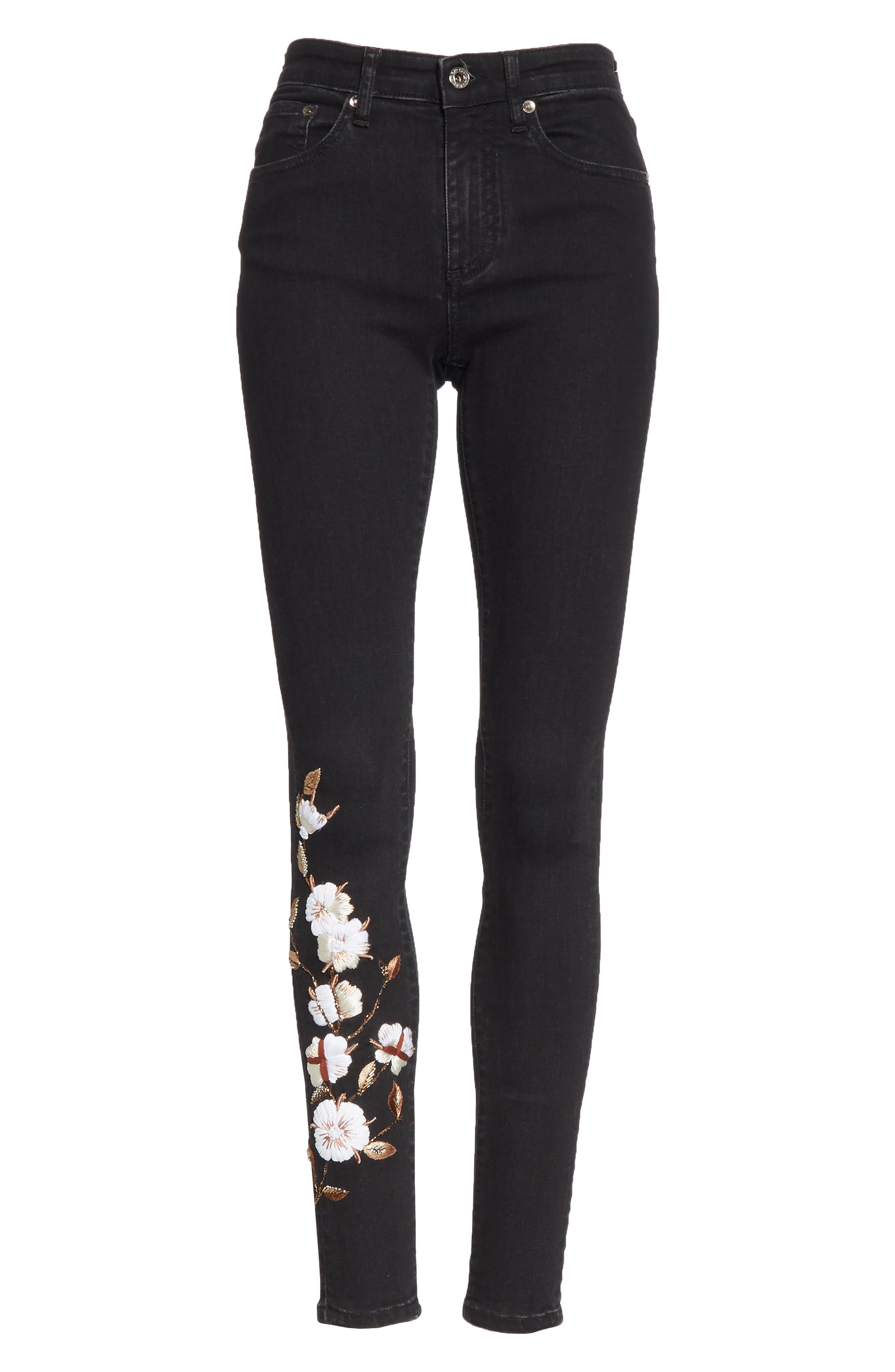 OFF-WHITE, Floral Embroidered Diagonal Stripe Skinny Jeans, Alternate thumbnail 6, color, VINTAGE BLACK