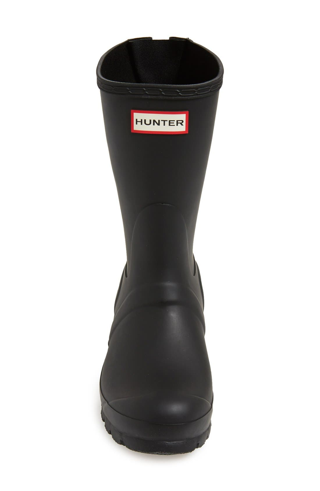 HUNTER, Original Short Back Adjustable Waterproof Rain Boot, Alternate thumbnail 3, color, BLACK