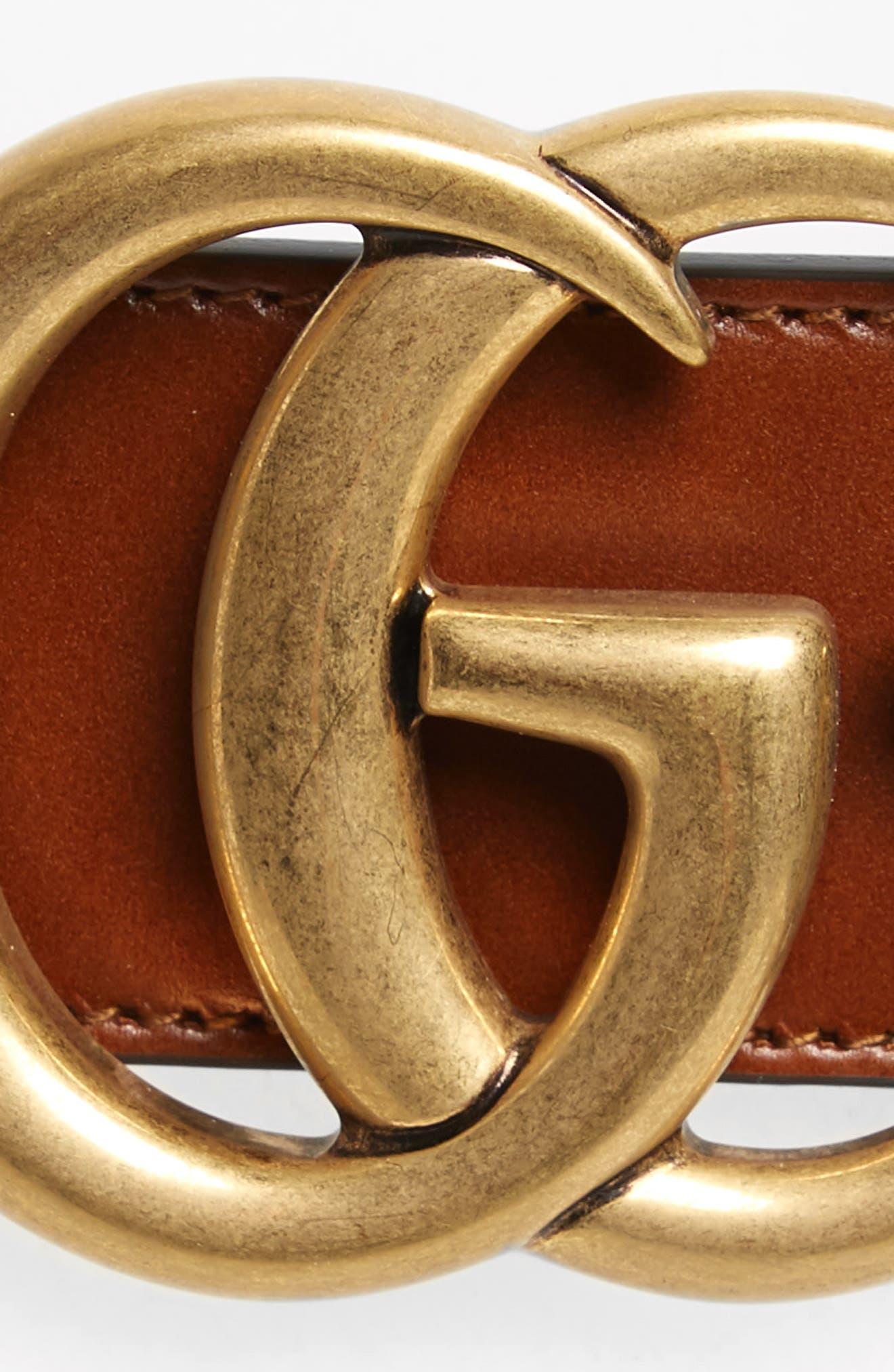 GUCCI, GG Logo Leather Belt, Alternate thumbnail 3, color, CUIR/VRV