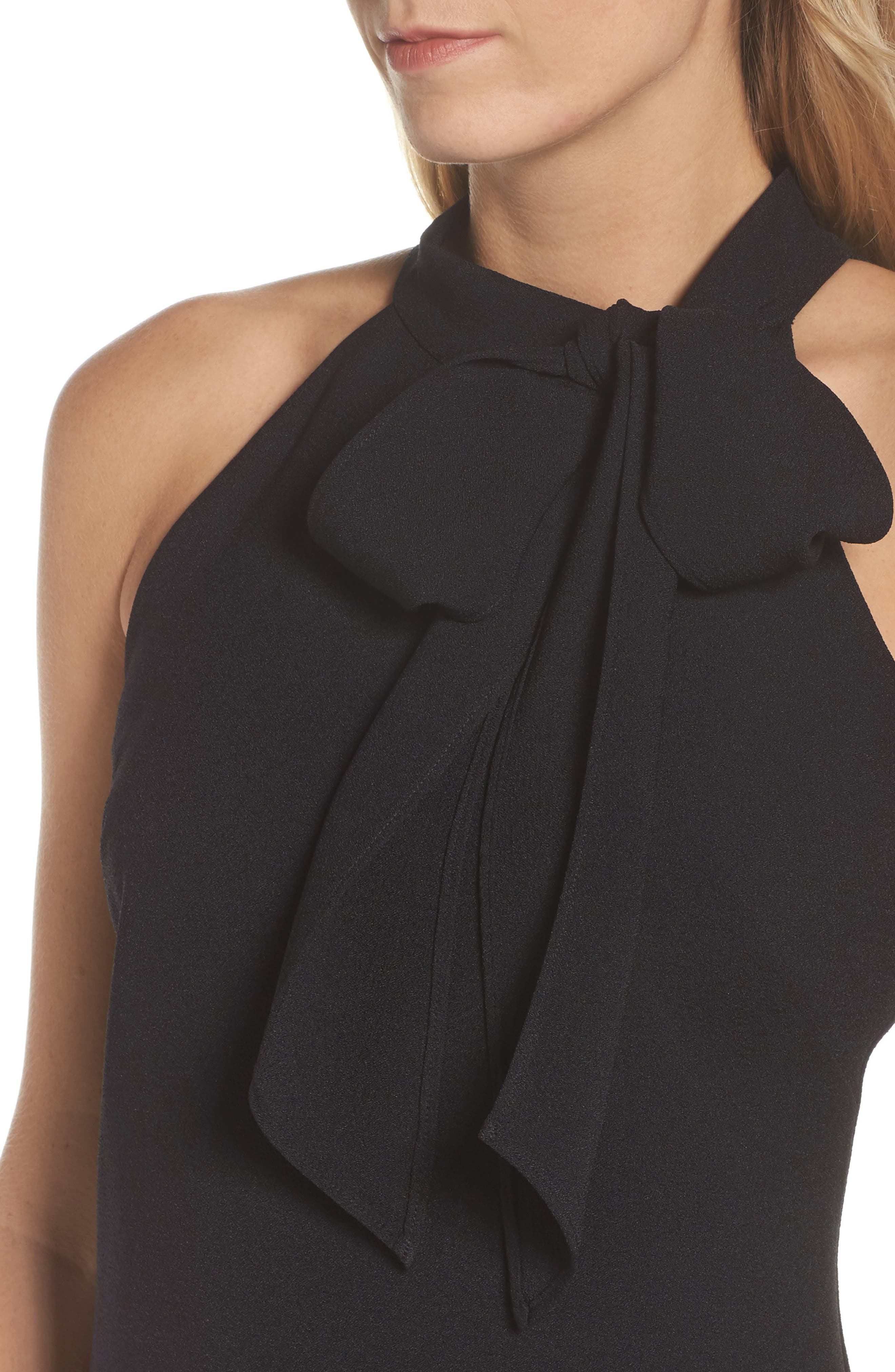 VINCE CAMUTO, Halter Tie Neck A-Line Dress, Alternate thumbnail 5, color, 001