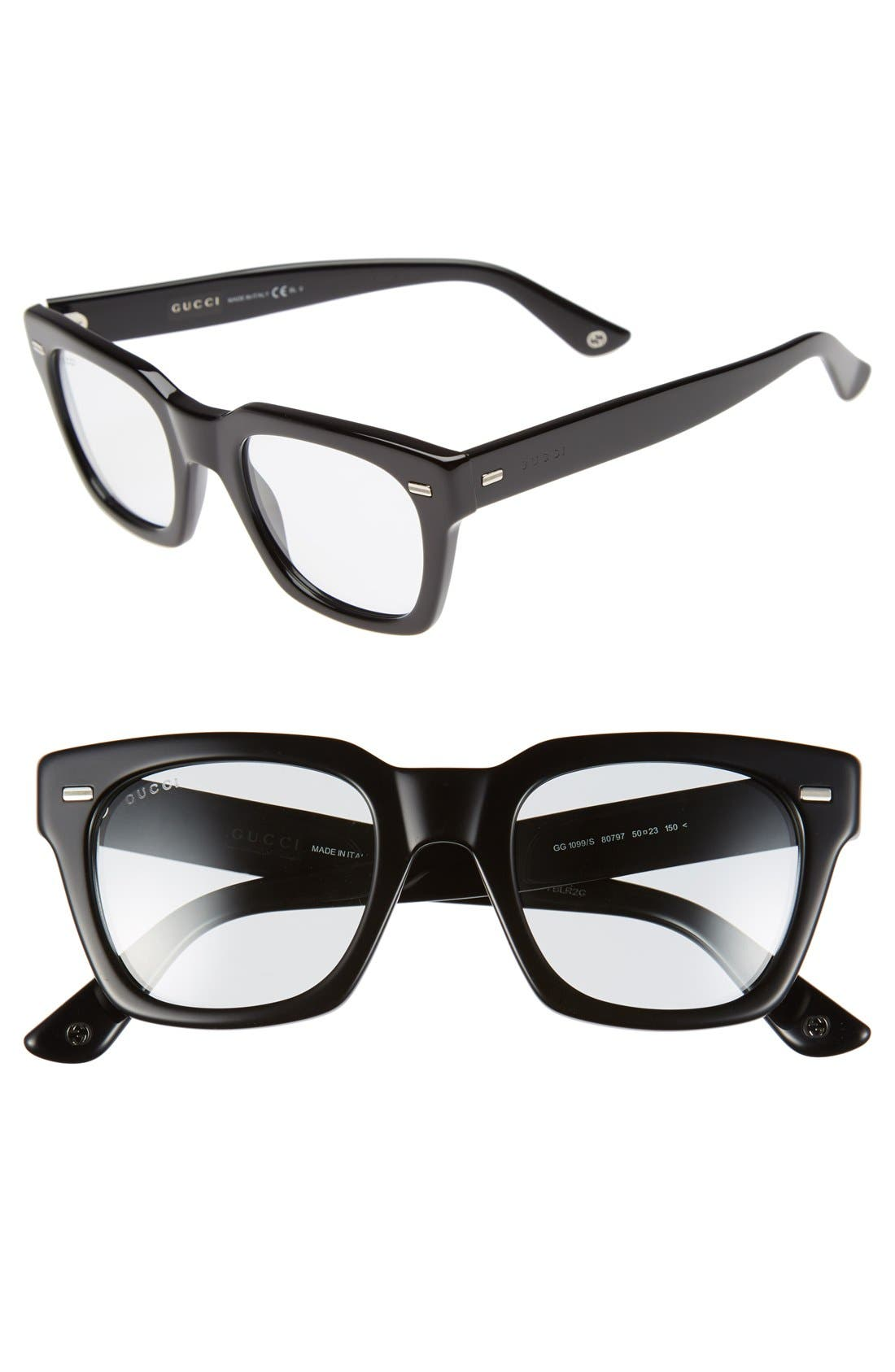 GUCCI, '1099S' 50mm Retro Sunglasses, Main thumbnail 1, color, 001
