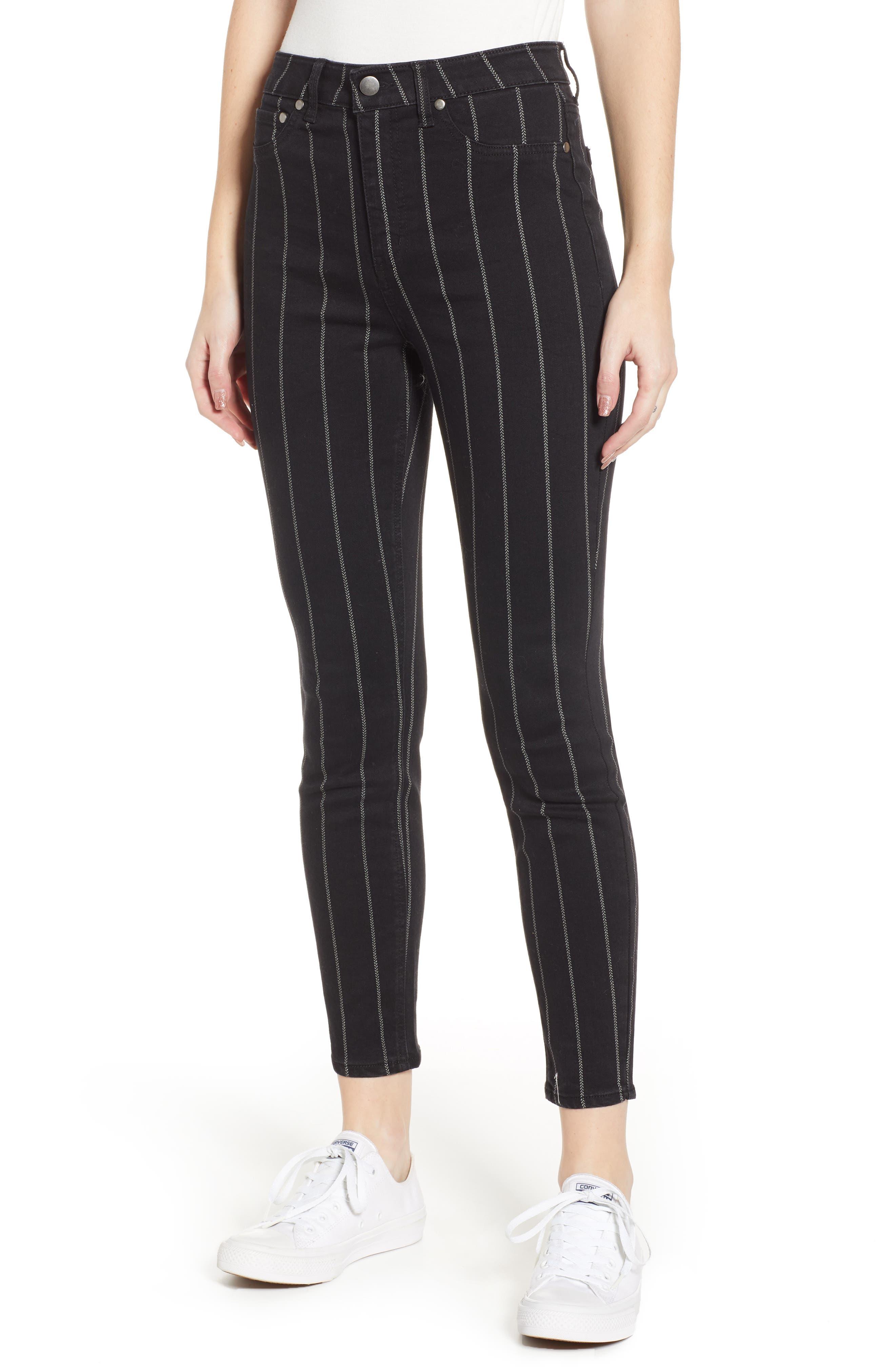 TINSEL, Stripe High Rise Skinny Jeans, Main thumbnail 1, color, 001