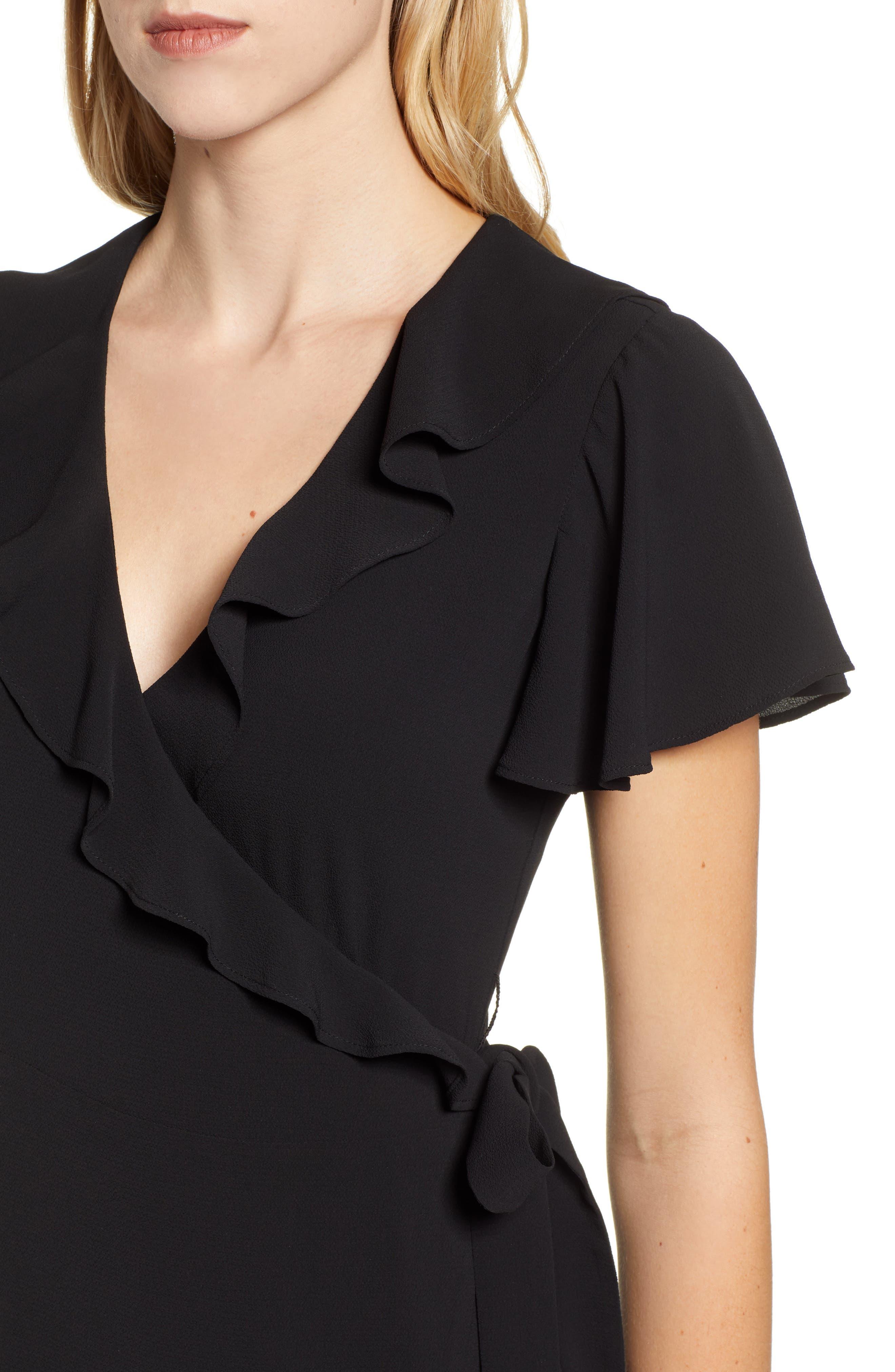 CHELSEA28, Ruffle Wrap Dress, Alternate thumbnail 5, color, BLACK