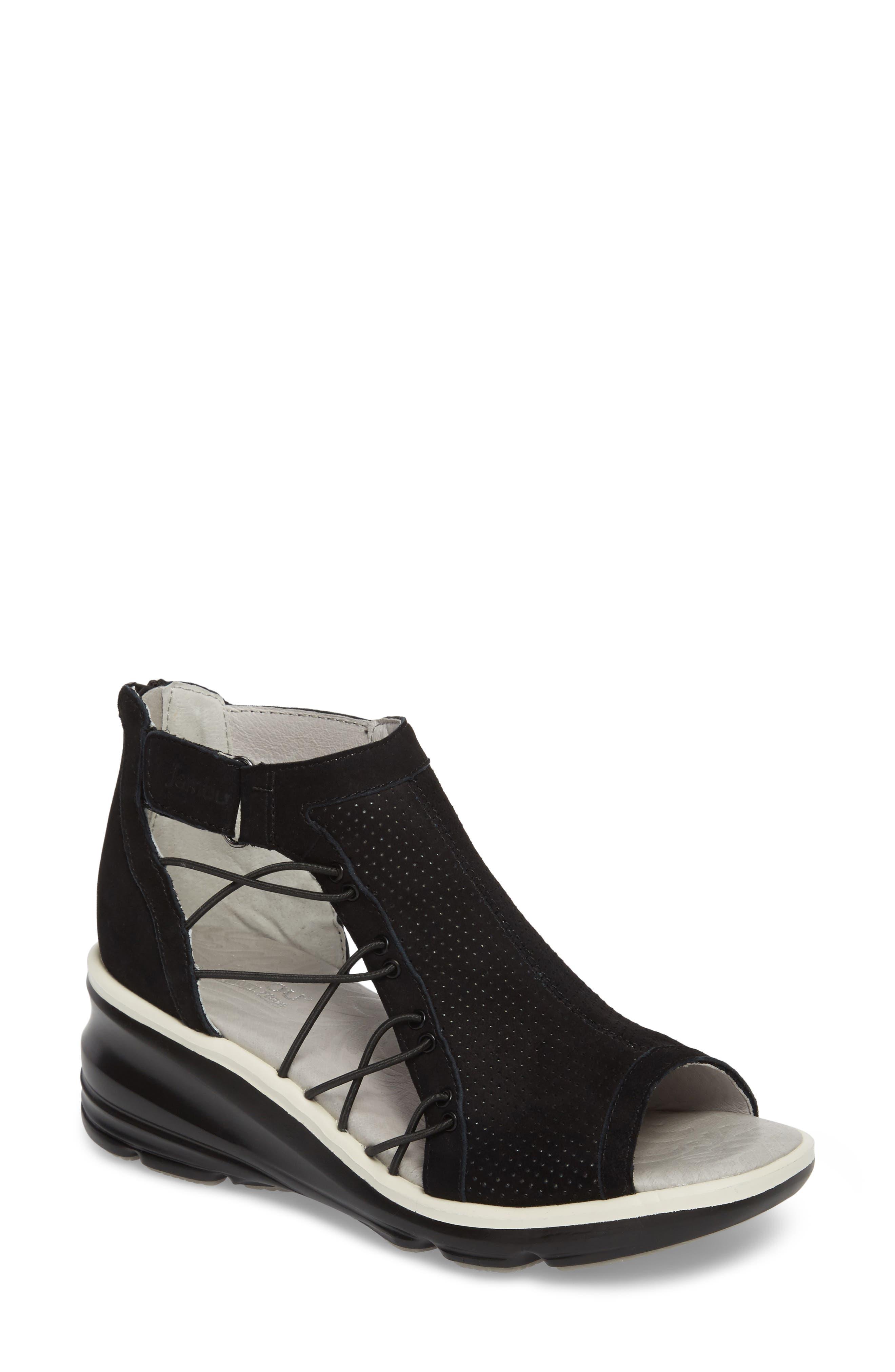JAMBU, Naomi Perforated Wedge Sandal, Main thumbnail 1, color, BLACK SUEDE