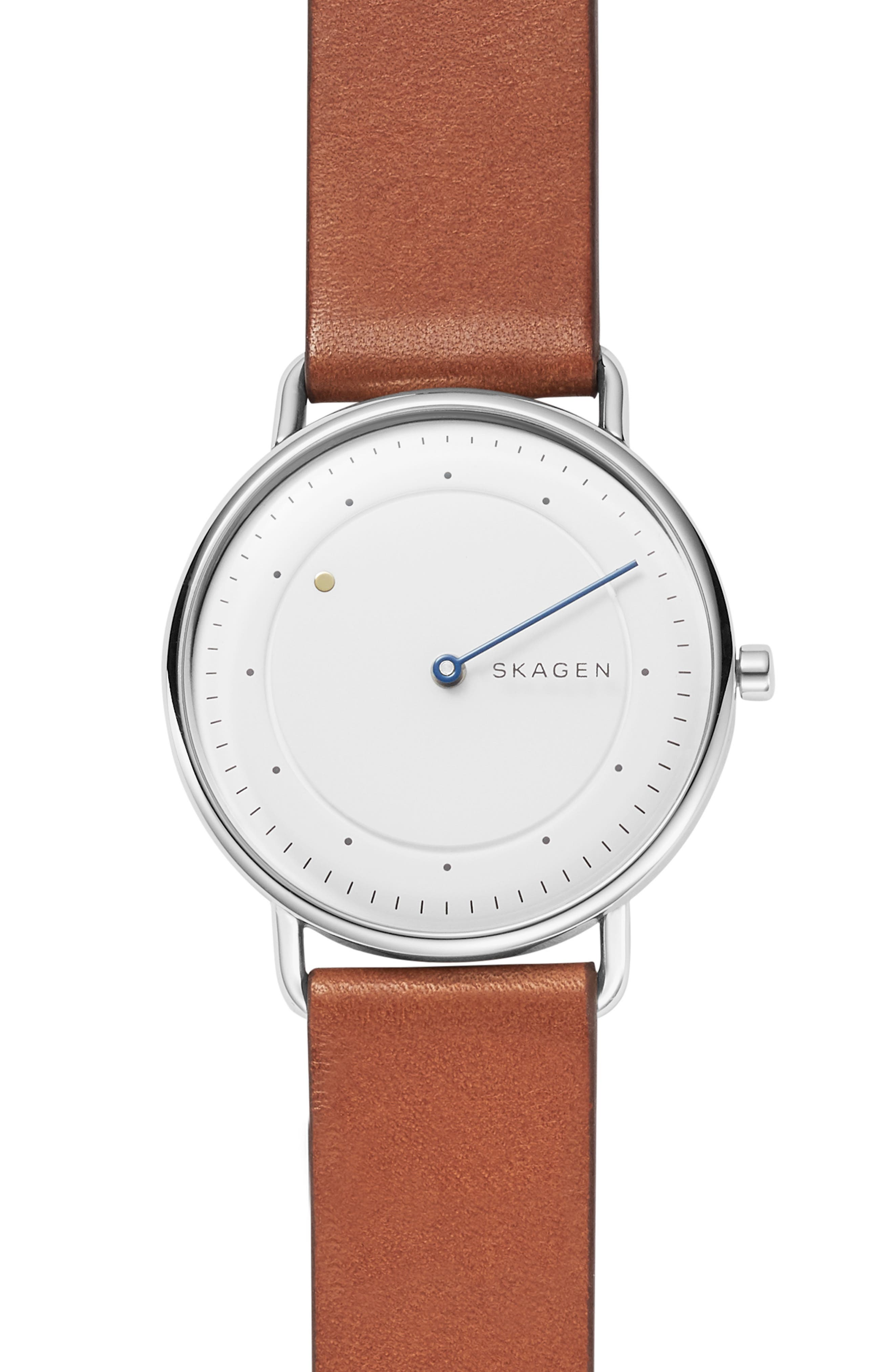 SKAGEN Horisont Leather Strap Watch, 40mm, Main, color, 200