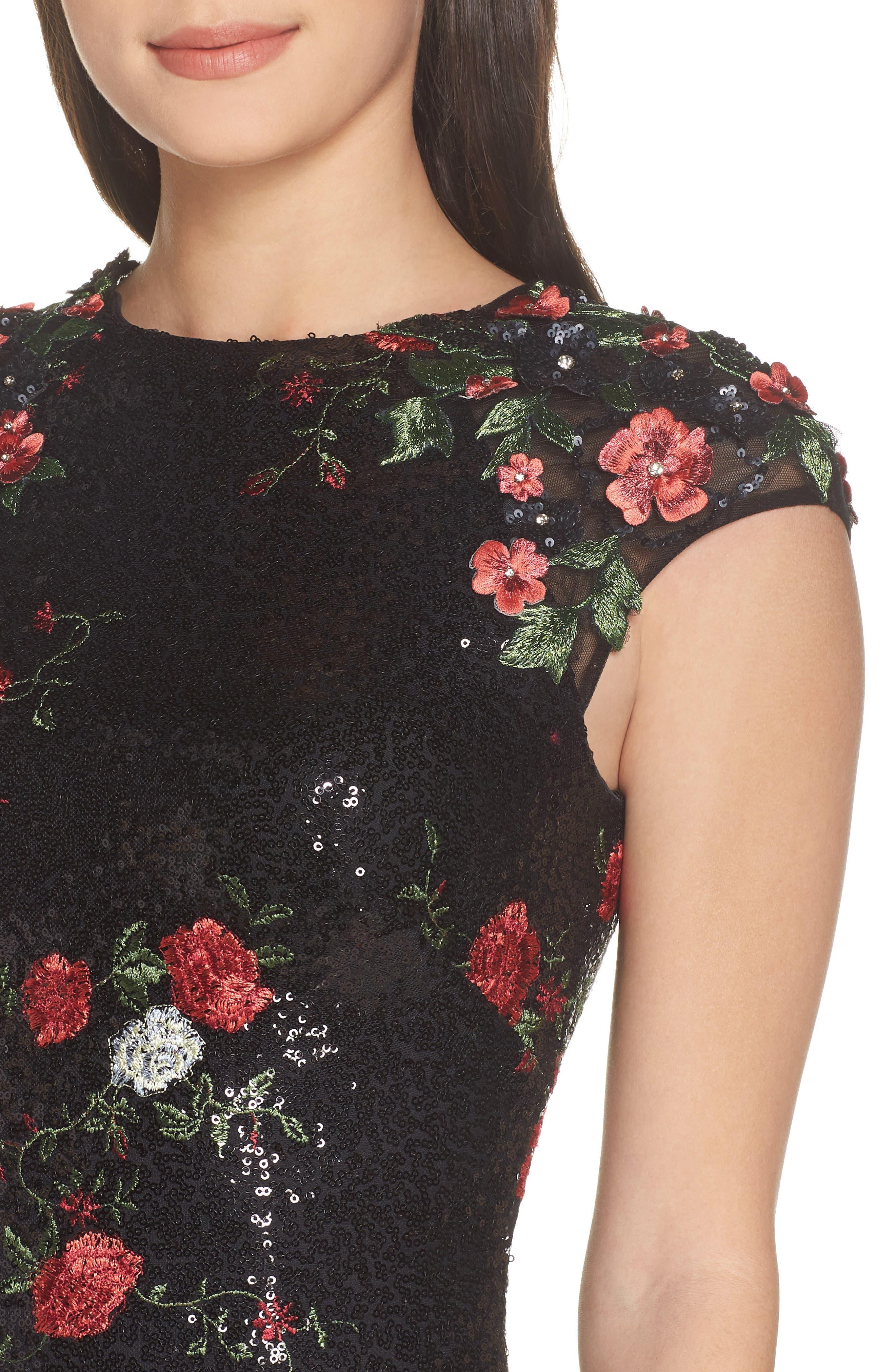 MAC DUGGAL, Sequin & Embroidery Sheath Dress, Alternate thumbnail 5, color, BLACK ROSE