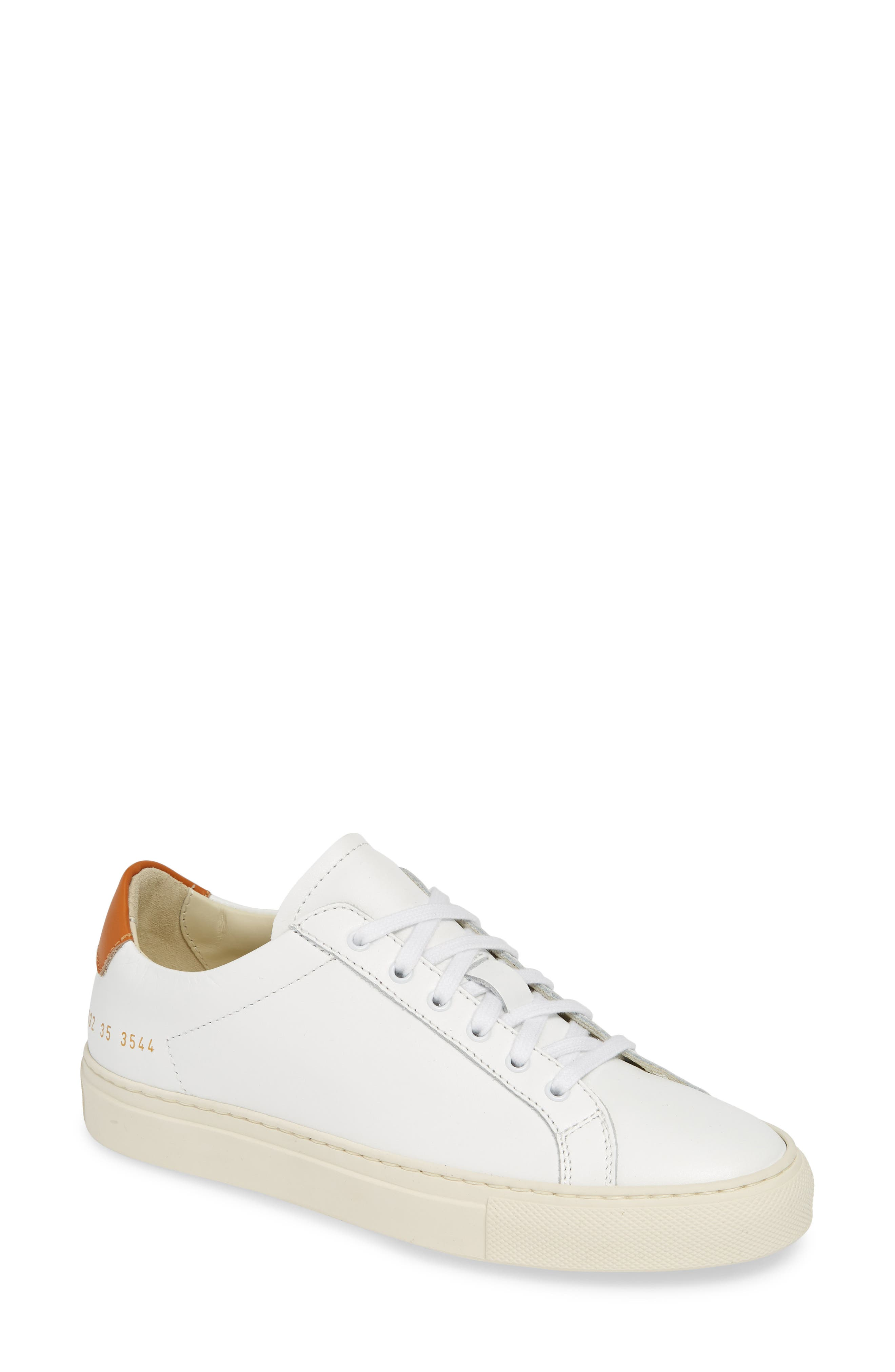 COMMON PROJECTS, Retro Low Top Sneaker, Main thumbnail 1, color, WHITE/ BROWN