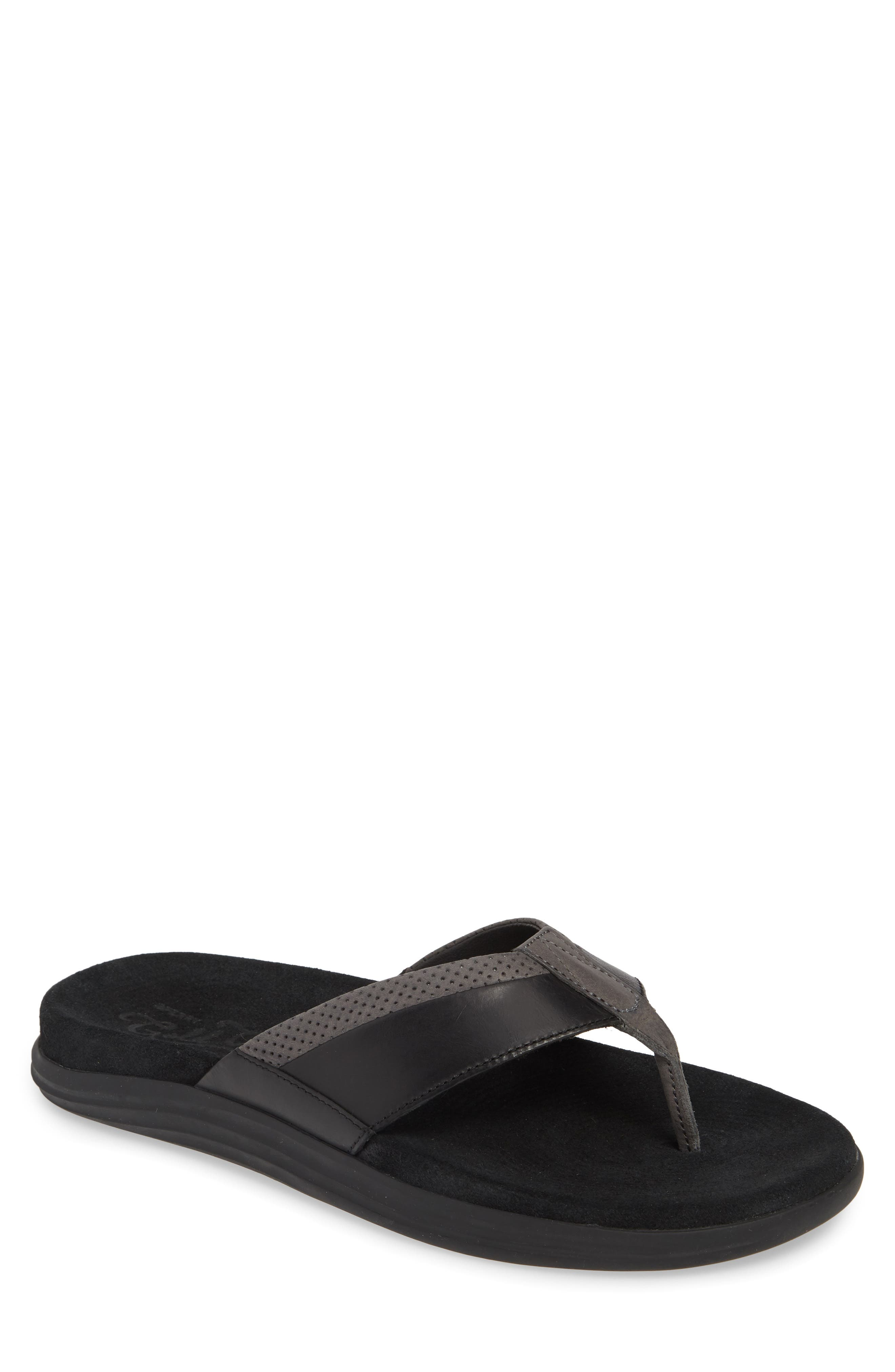 SPERRY Gold Cup Amalfi Flip Flop, Main, color, BLACK/ GREY LEATHER