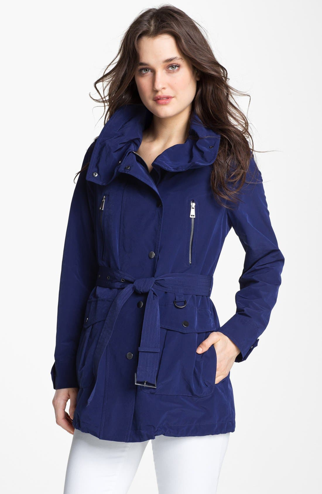 LONDON FOG, Belted Jacket with Hidden Hood, Main thumbnail 1, color, 400