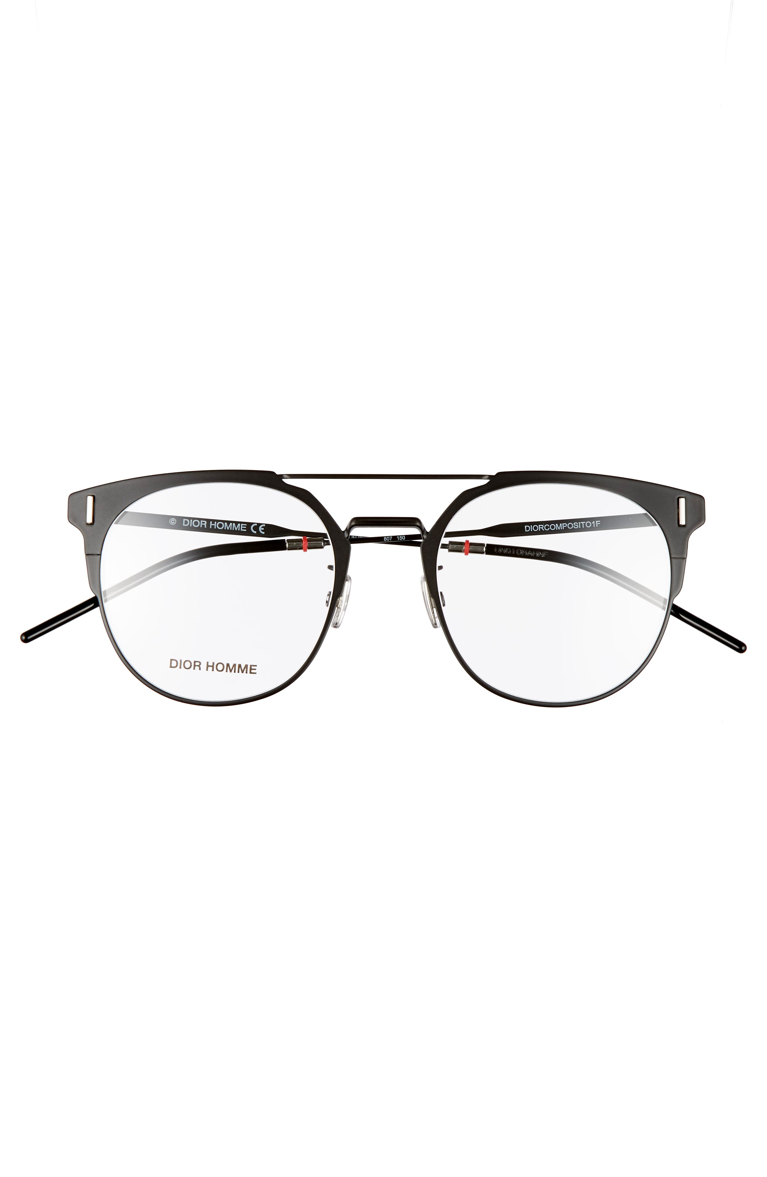 DIOR, 51mm Round Optical Glasses, Alternate thumbnail 3, color, 001