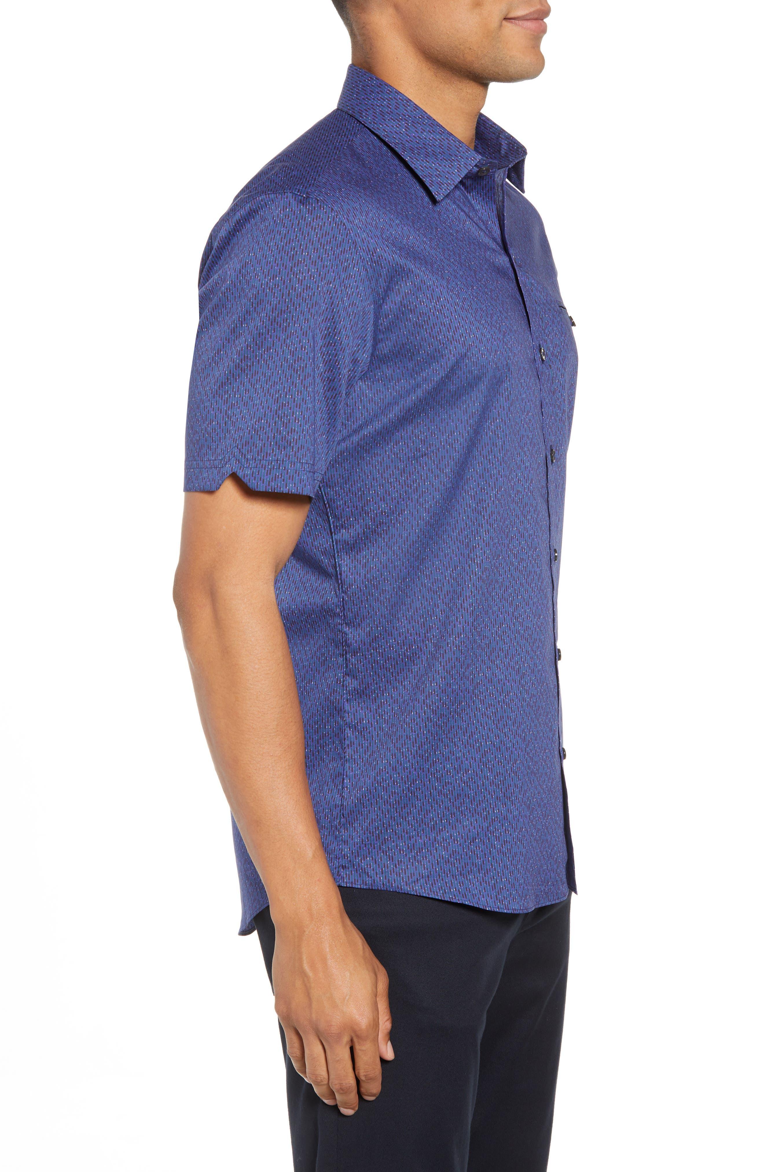 ZACHARY PRELL, Print Sport Shirt, Alternate thumbnail 3, color, 410