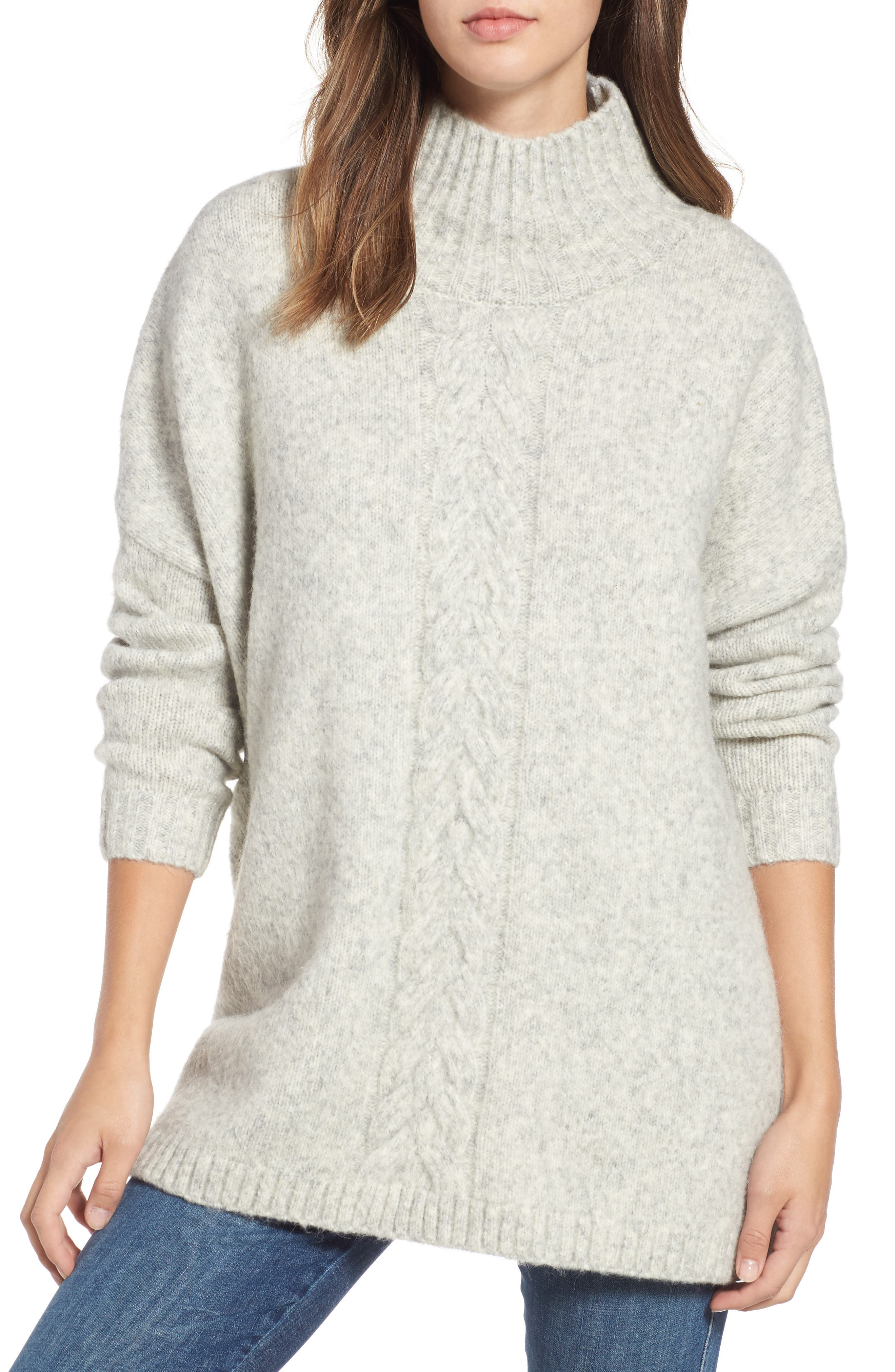 FRENCH CONNECTION Ora Knit Pullover, Main, color, LIGHT GREY MEL