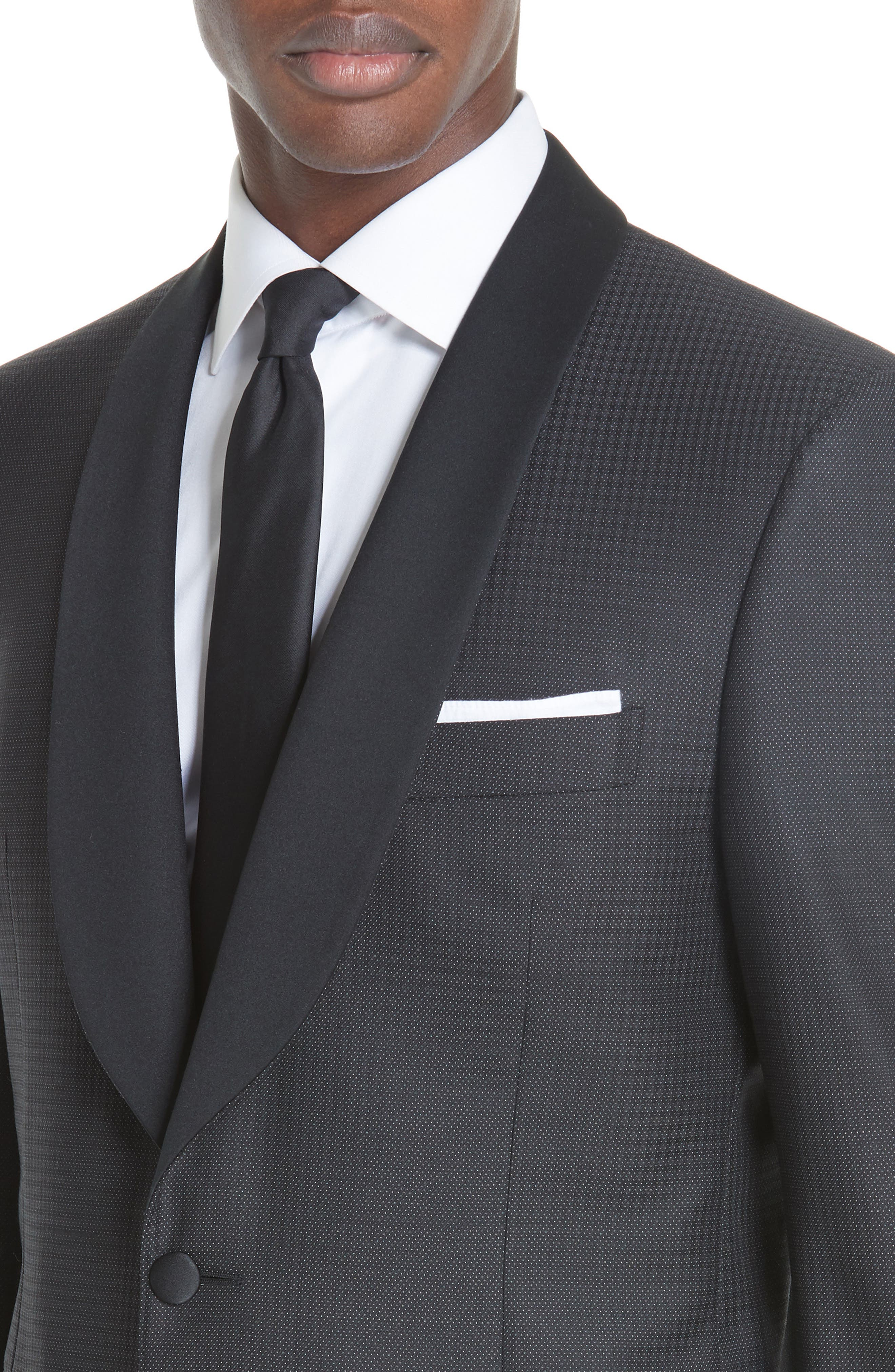 CANALI, Classic Fit Wool Tuxedo, Alternate thumbnail 4, color, CHARCOAL