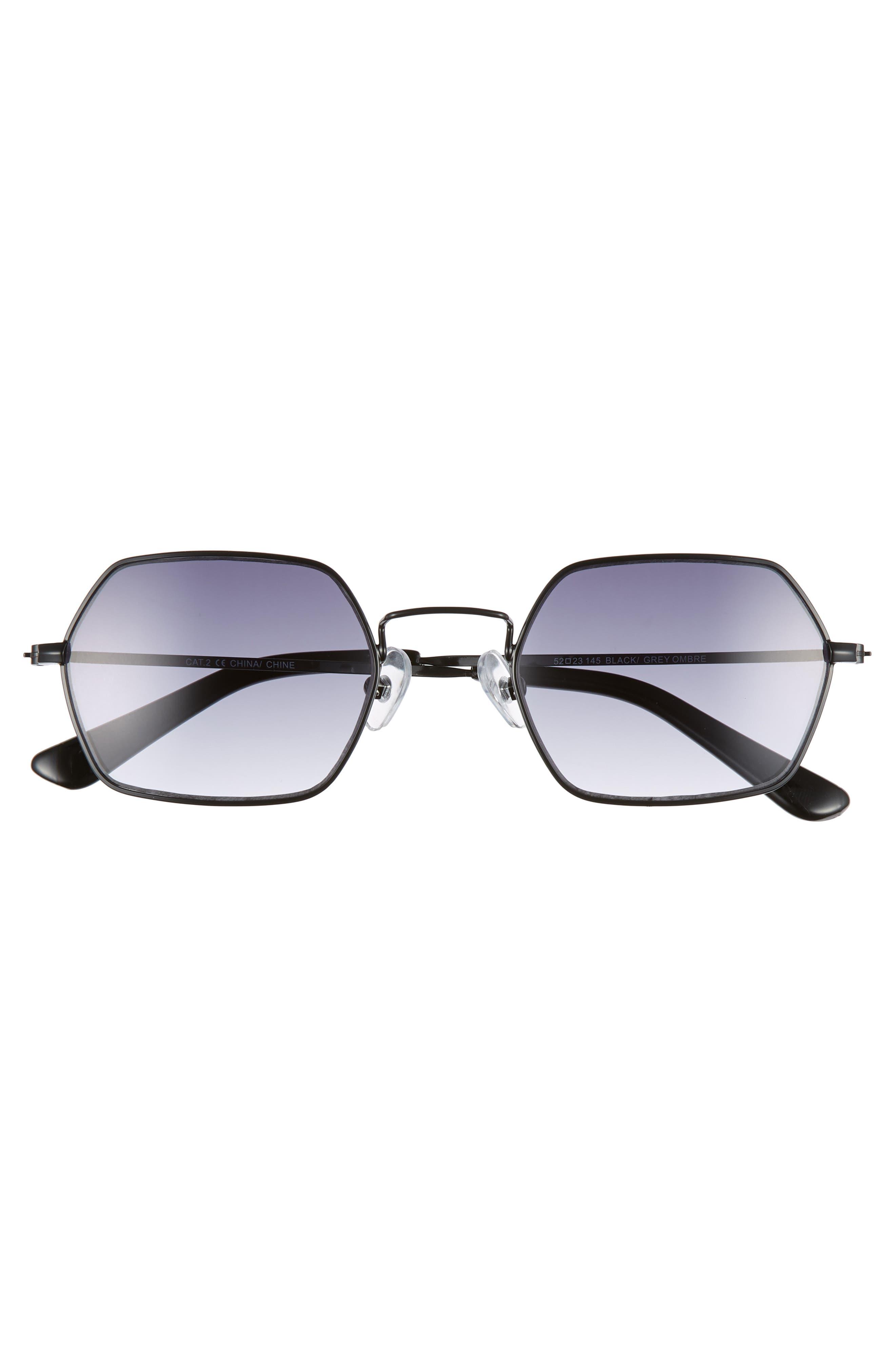 THE RAIL, Russo 52mm Hexagon Sunglasses, Alternate thumbnail 2, color, BLACK/ GREY OMBRE