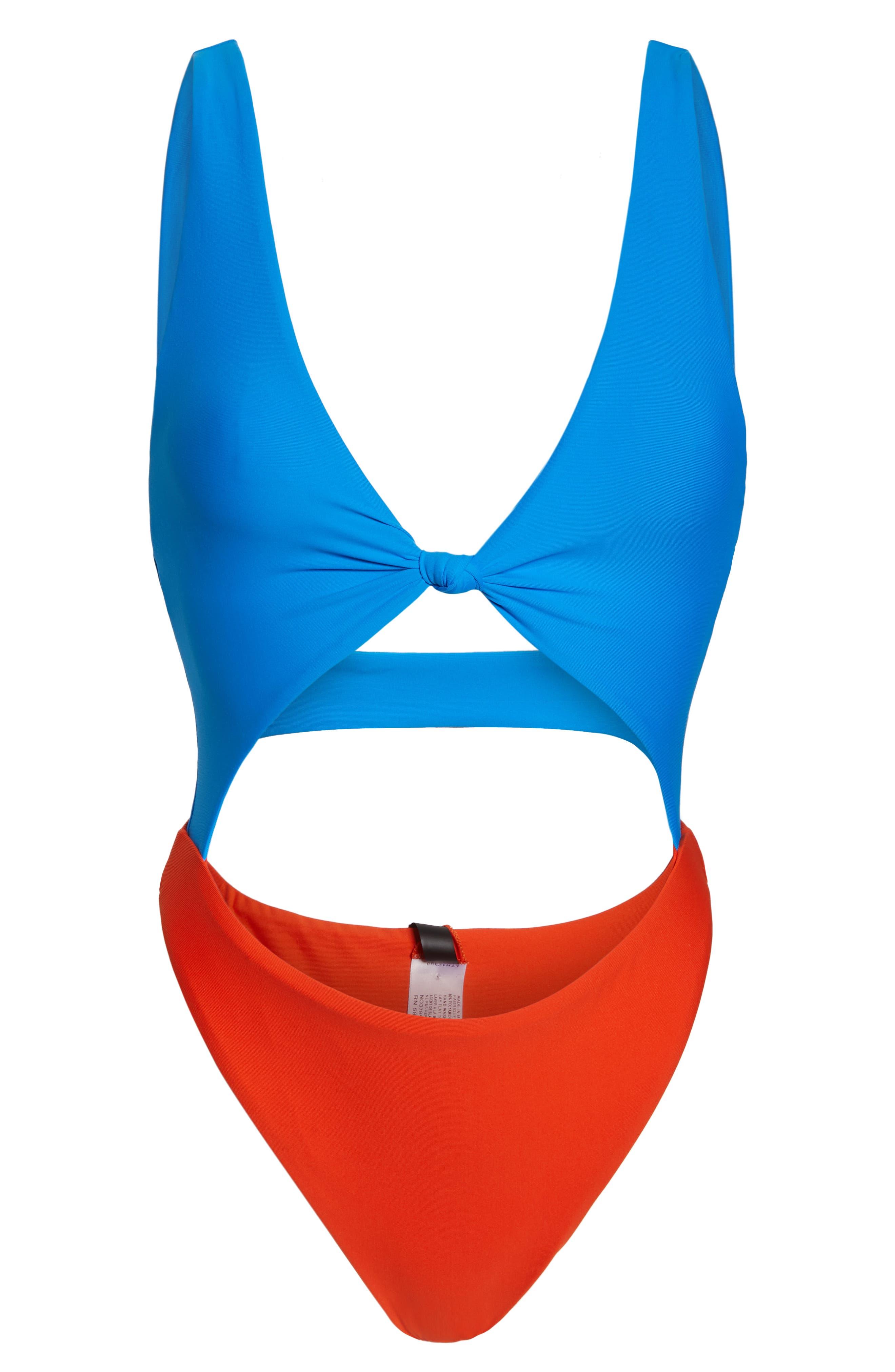 LEITH, Colorblock One-Piece Swimsuit, Alternate thumbnail 6, color, 420