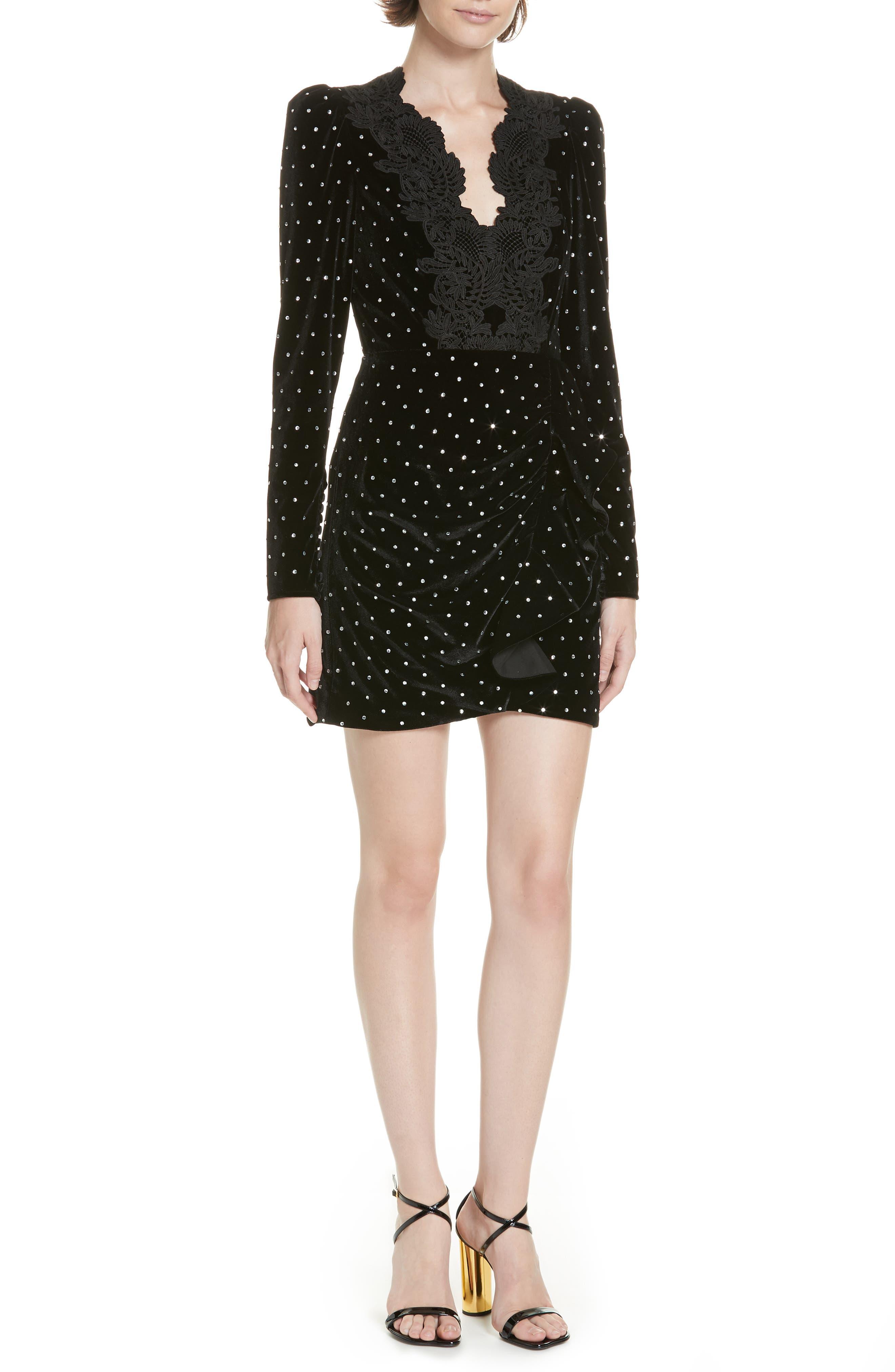 Self-Portrait Lace Trim Velvet Diamante Dress, Black