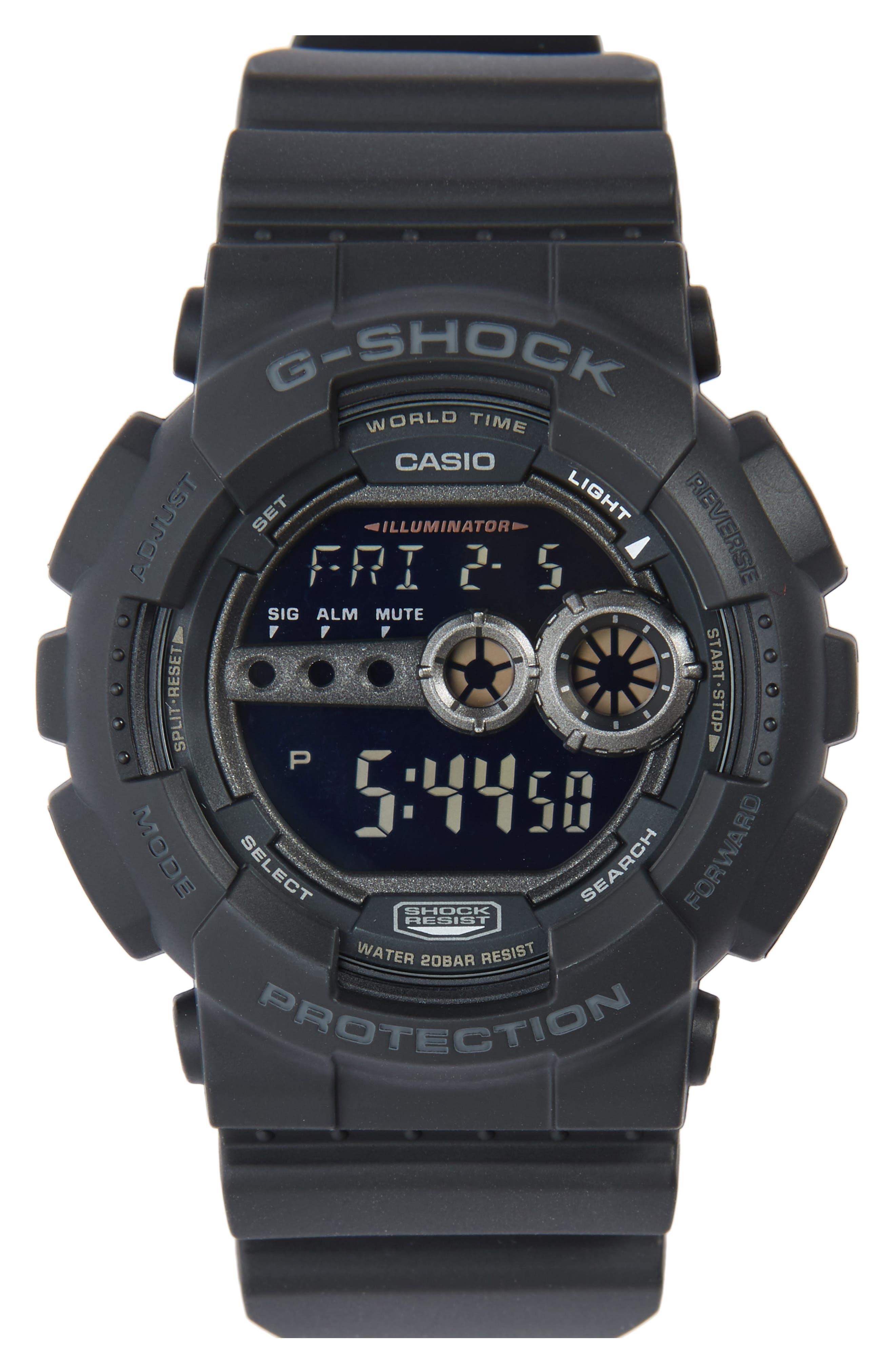 G-SHOCK BABY-G, G-Shock 'Super Luminosity' Digital Watch, 48mm, Main thumbnail 1, color, BLACK