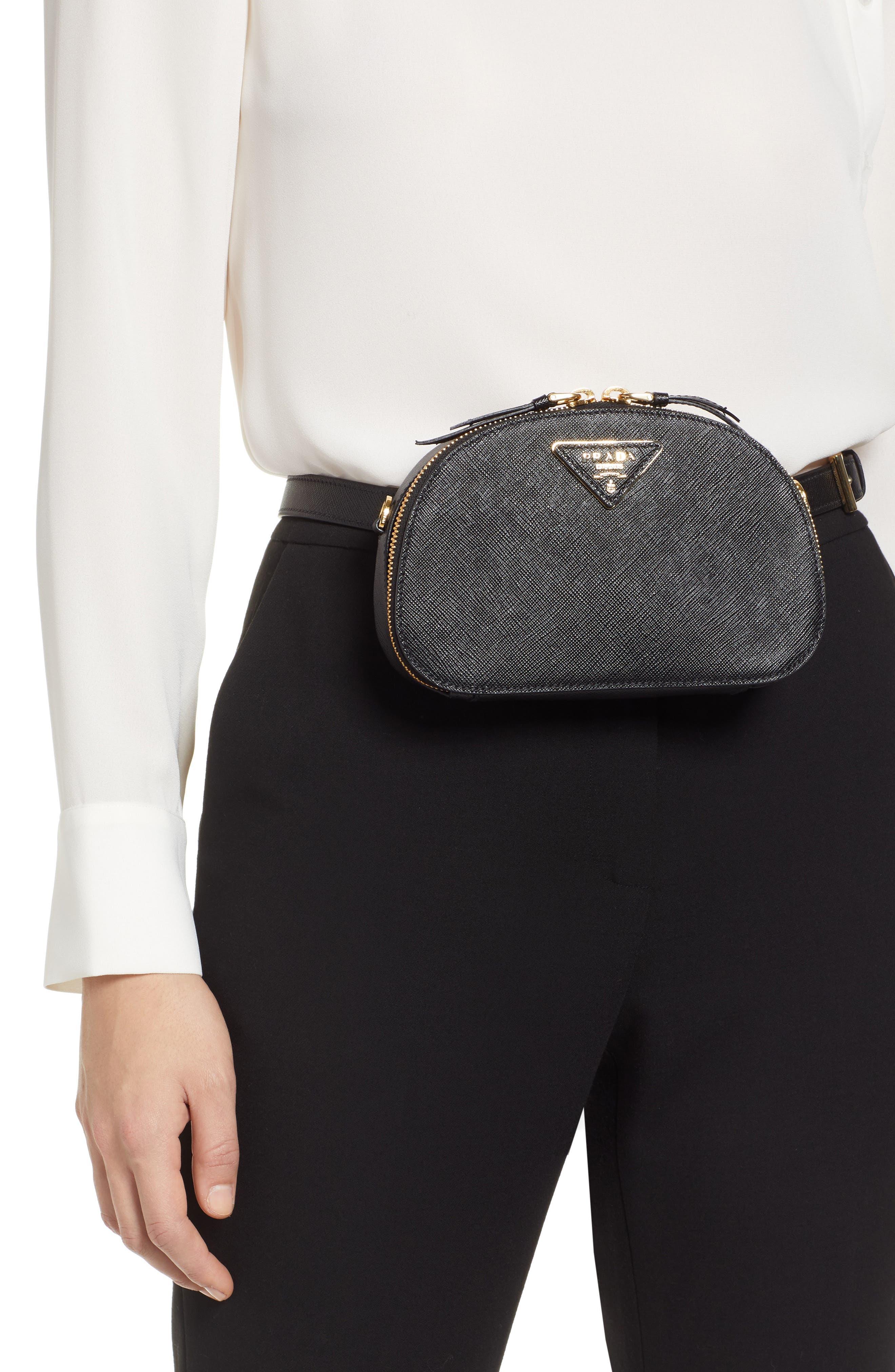 PRADA, Saffiano Leather Belt Bag, Alternate thumbnail 2, color, 001