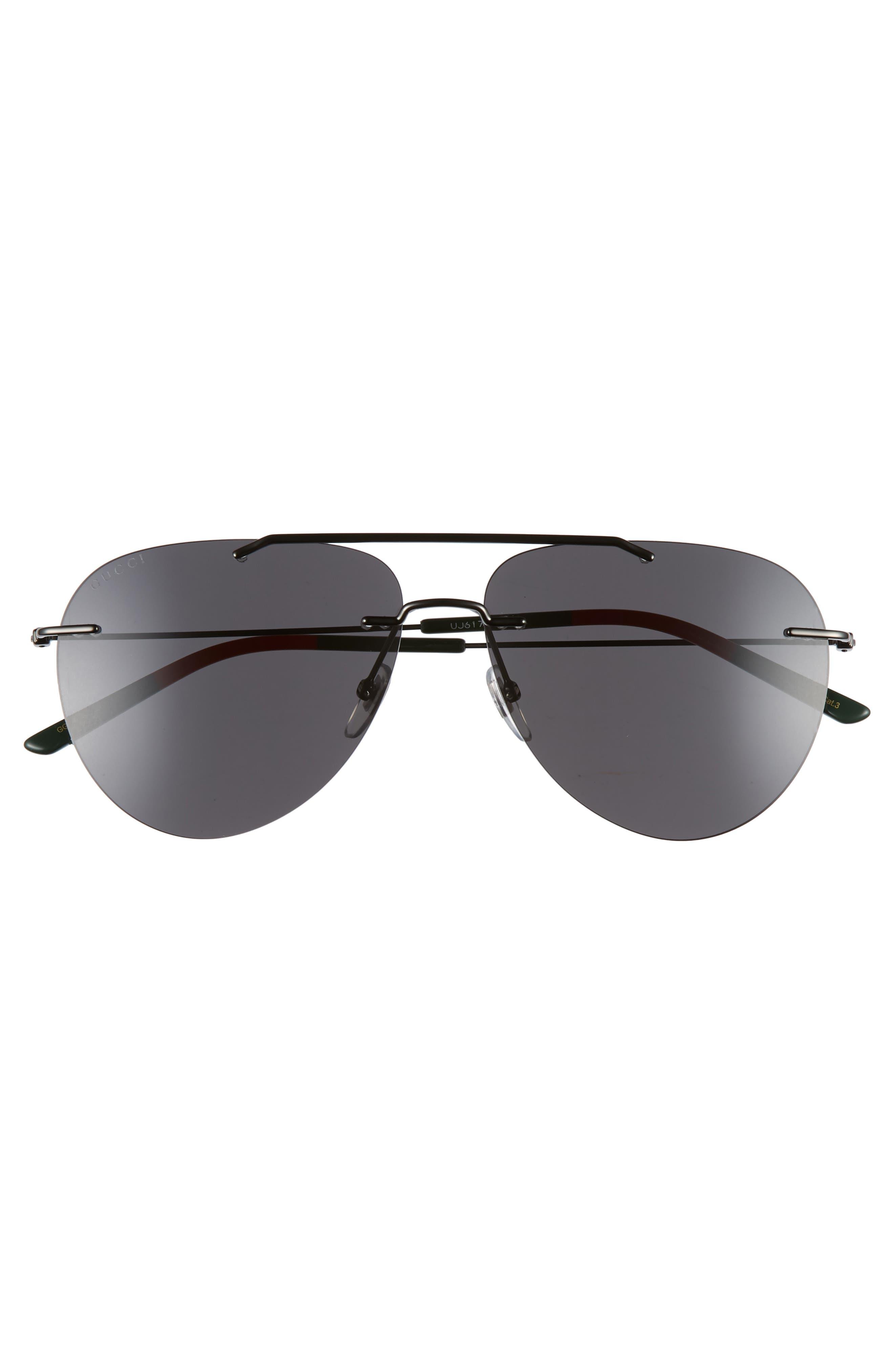 GUCCI, 60mm Rimless Aviator Sunglasses, Alternate thumbnail 2, color, RUTHENIUM