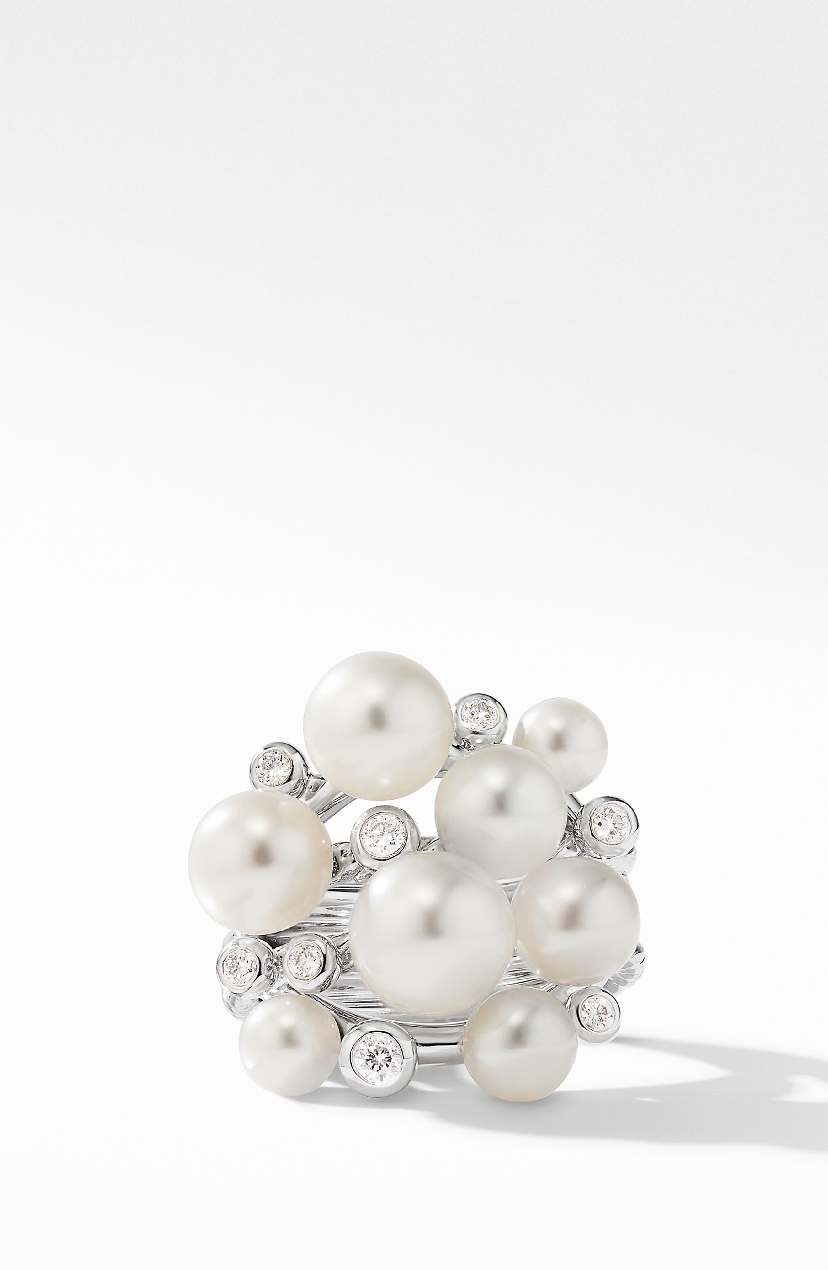 DAVID YURMAN, Large Pearl Cluster Ring with Diamonds, Alternate thumbnail 2, color, SILVER/ DIAMOND/ PEARL