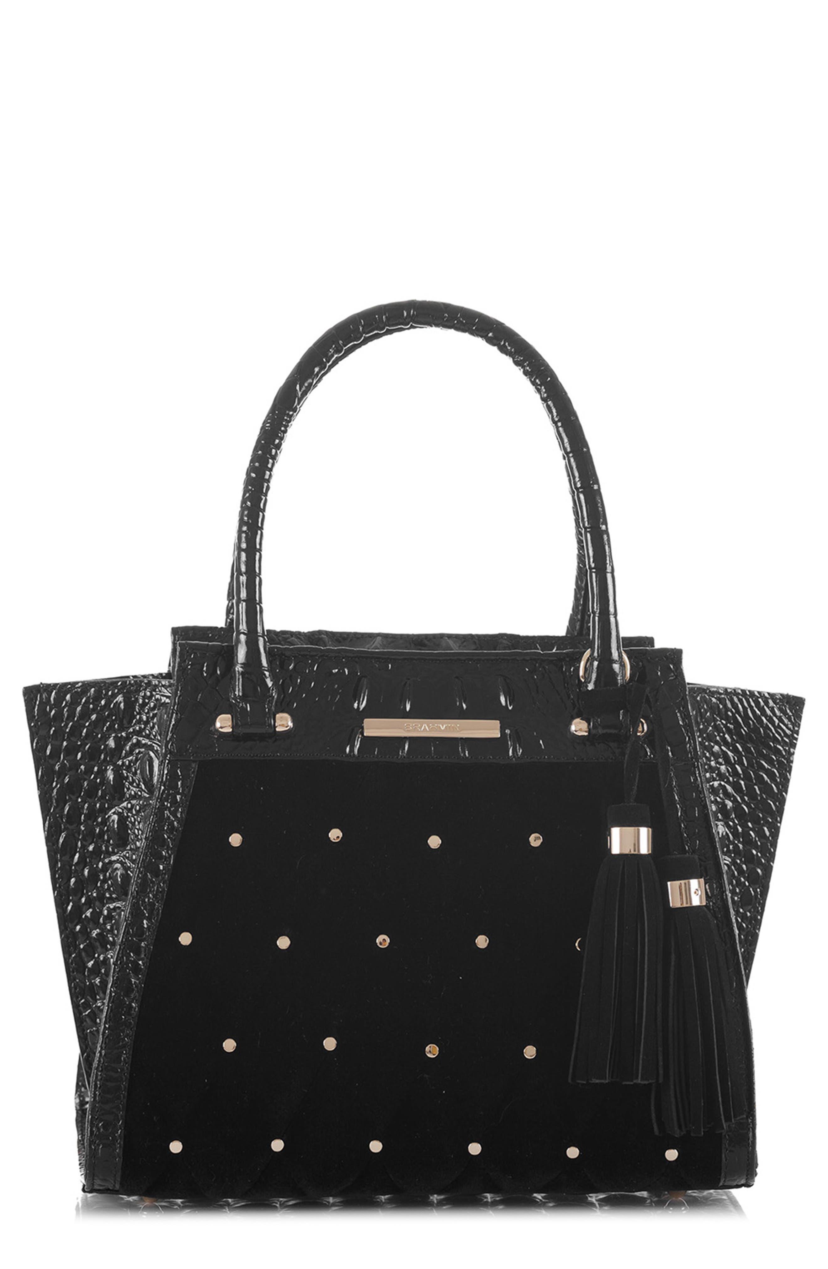BRAHMIN Mini Priscilla Studded Suede & Leather Satchel, Main, color, BLACK