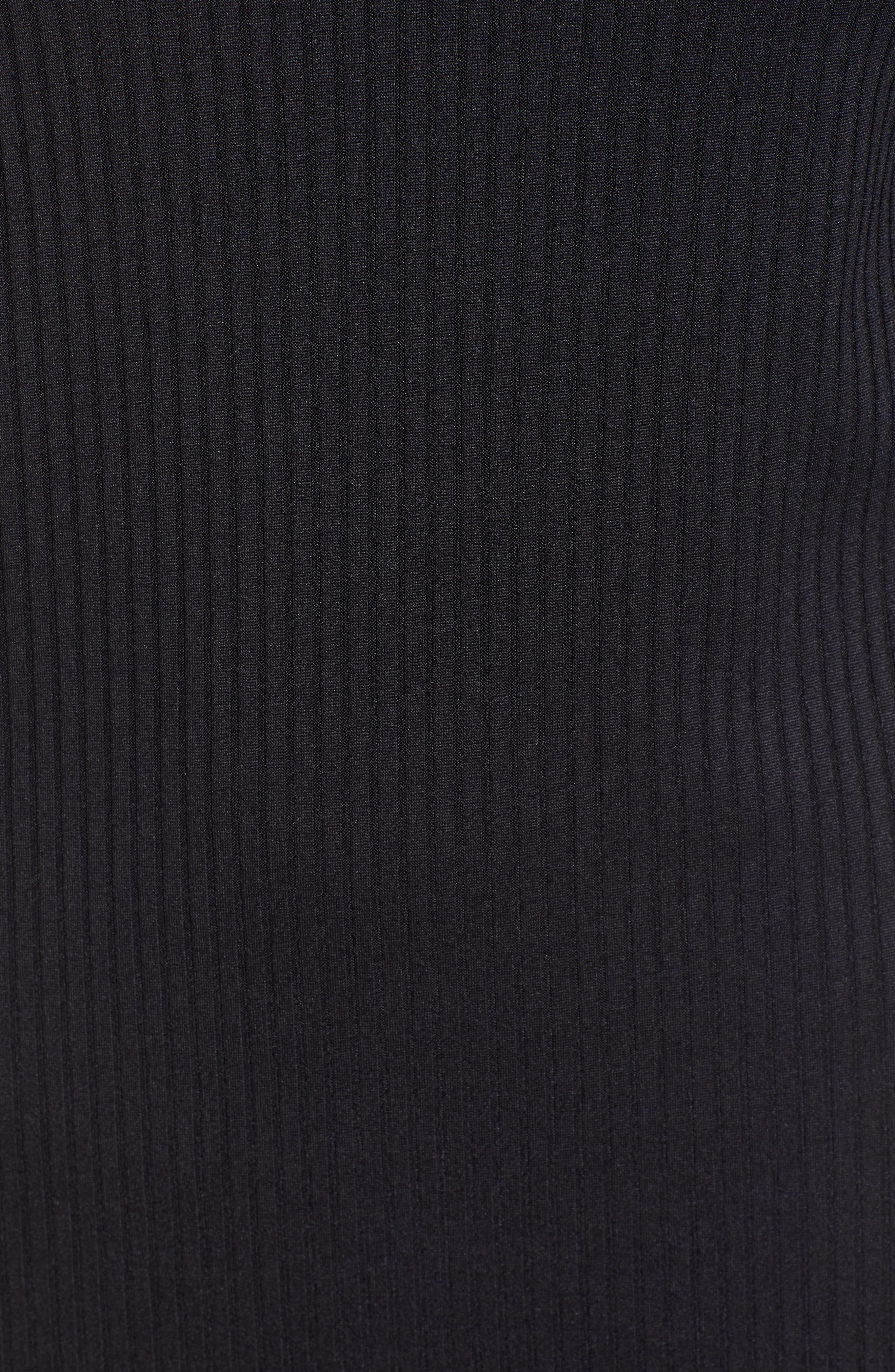 ---, Ribbed Body-Con Minidress, Alternate thumbnail 5, color, 001