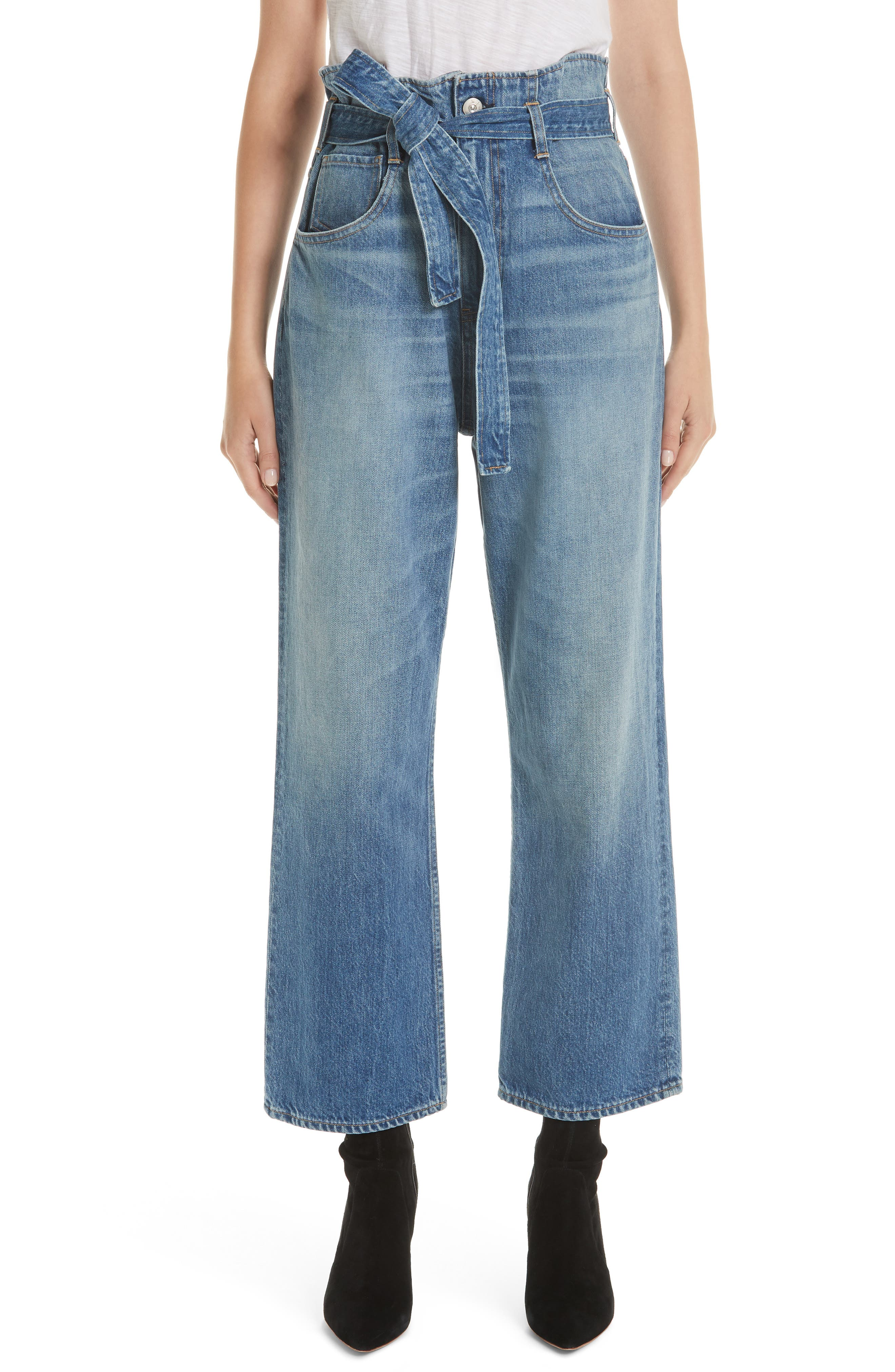 3X1 NYC, Kelly Paperbag Waist Ankle Wide Leg Jeans, Main thumbnail 1, color, MEG
