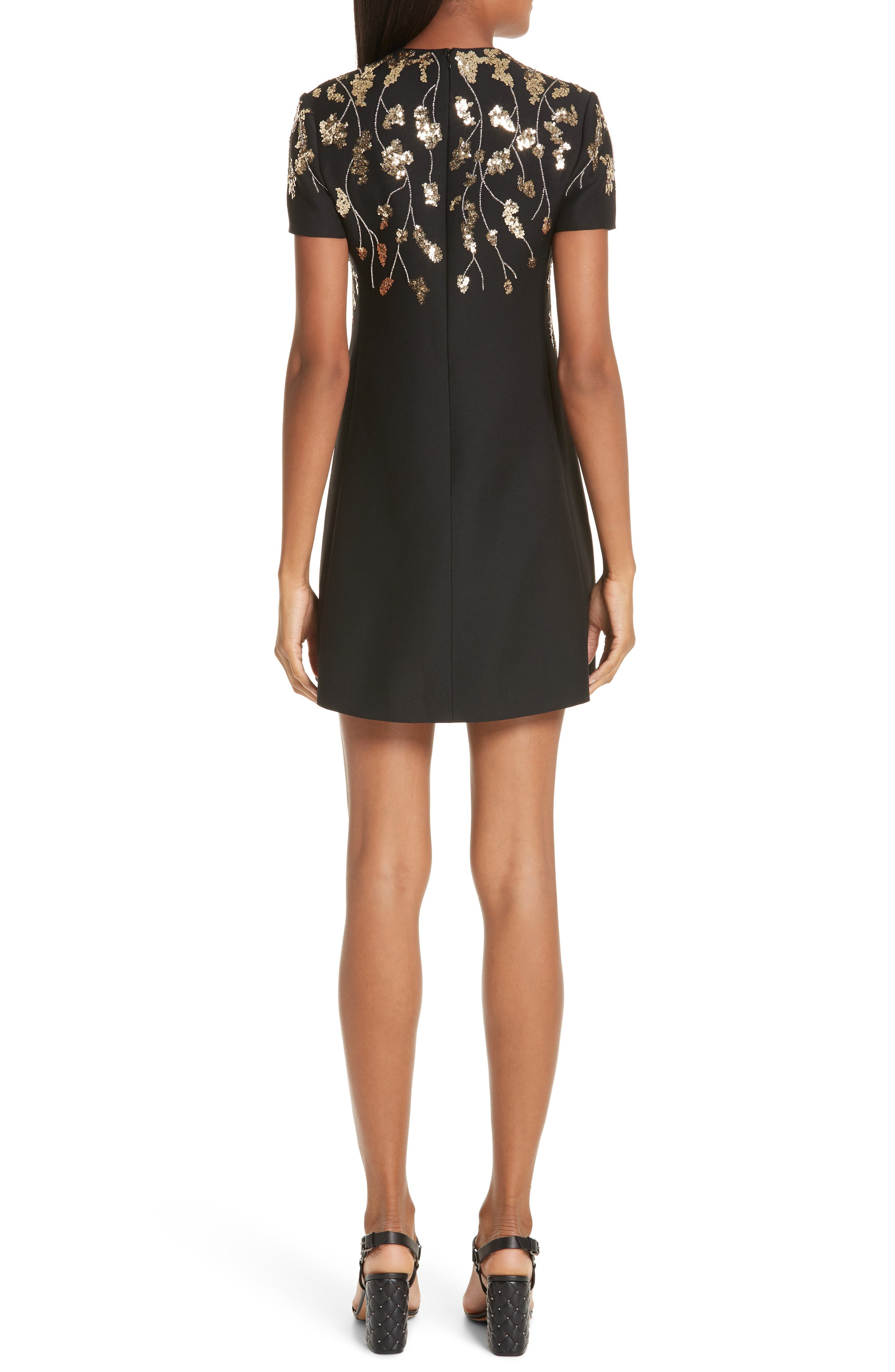 VALENTINO, Floral Embroidered Crepe Couture Dress, Alternate thumbnail 2, color, BLACK GOLD