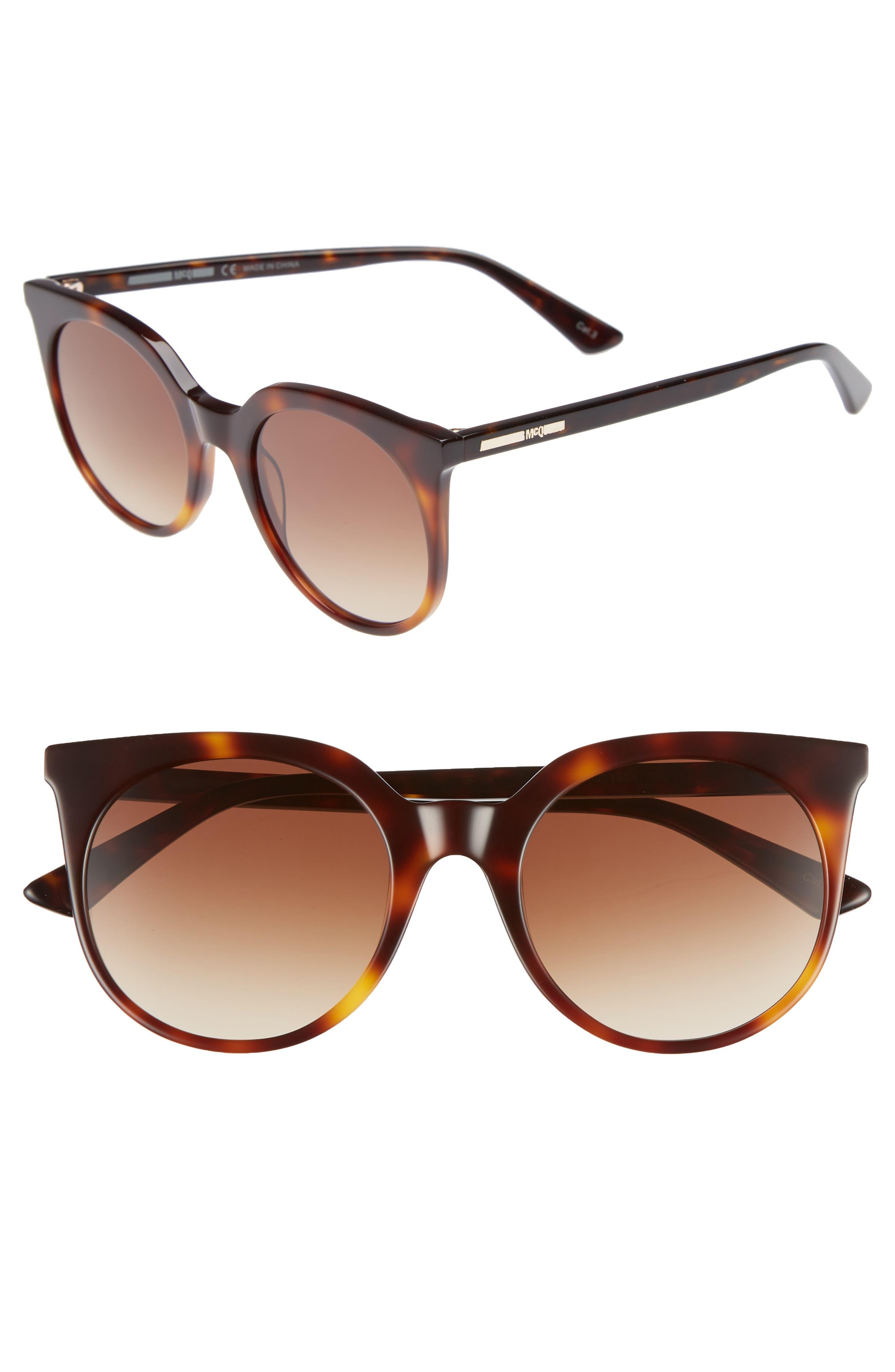 MCQ ALEXANDER MCQUEEN, 52mm Cat Eye Sunglasses, Main thumbnail 1, color, HAVANA