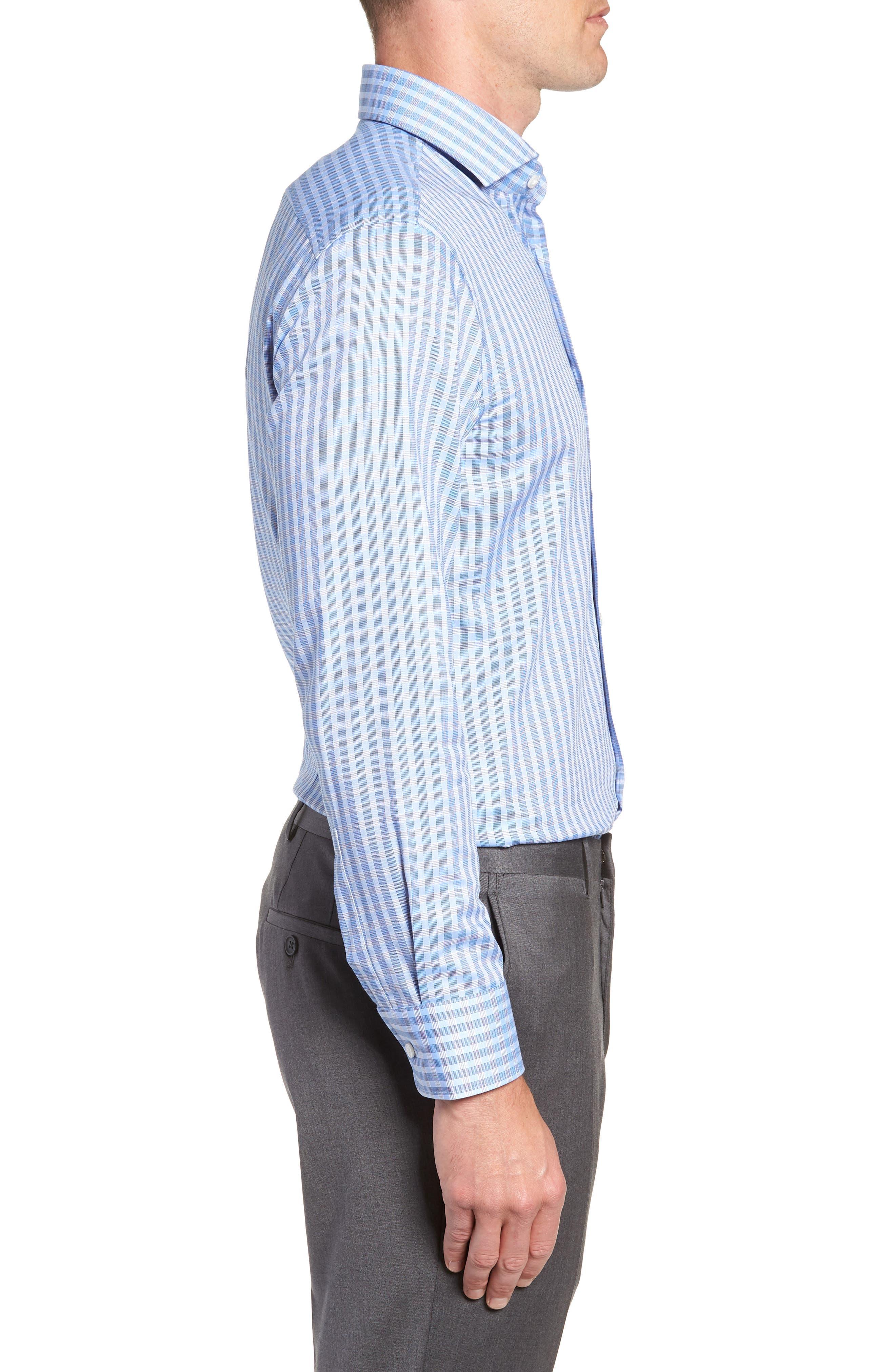 BOSS, Mark Sharp Fit Check Dress Shirt, Alternate thumbnail 4, color, BLUE