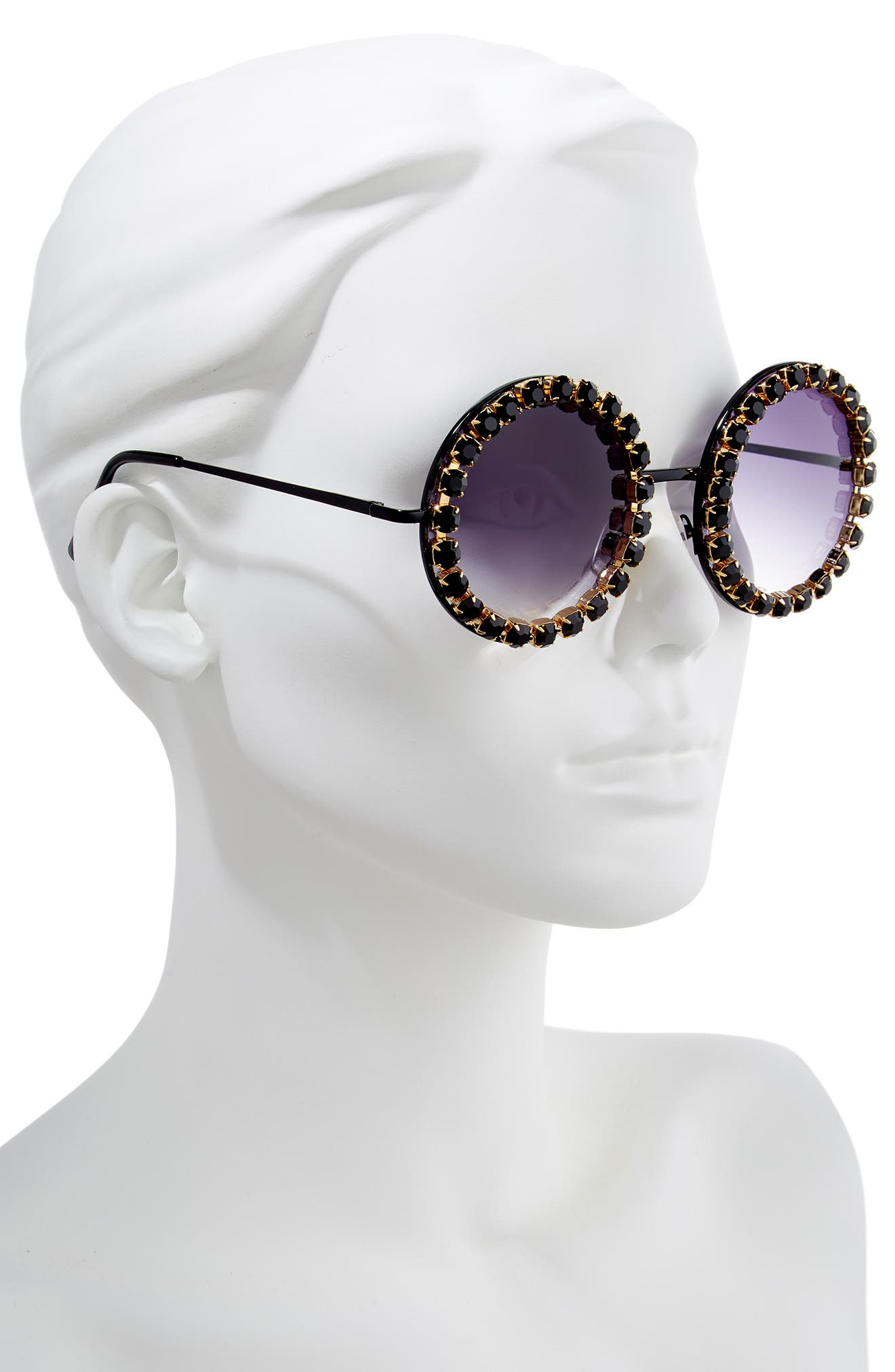 RAD + REFINED, Rhinestone Round Sunglasses, Alternate thumbnail 2, color, BLACK