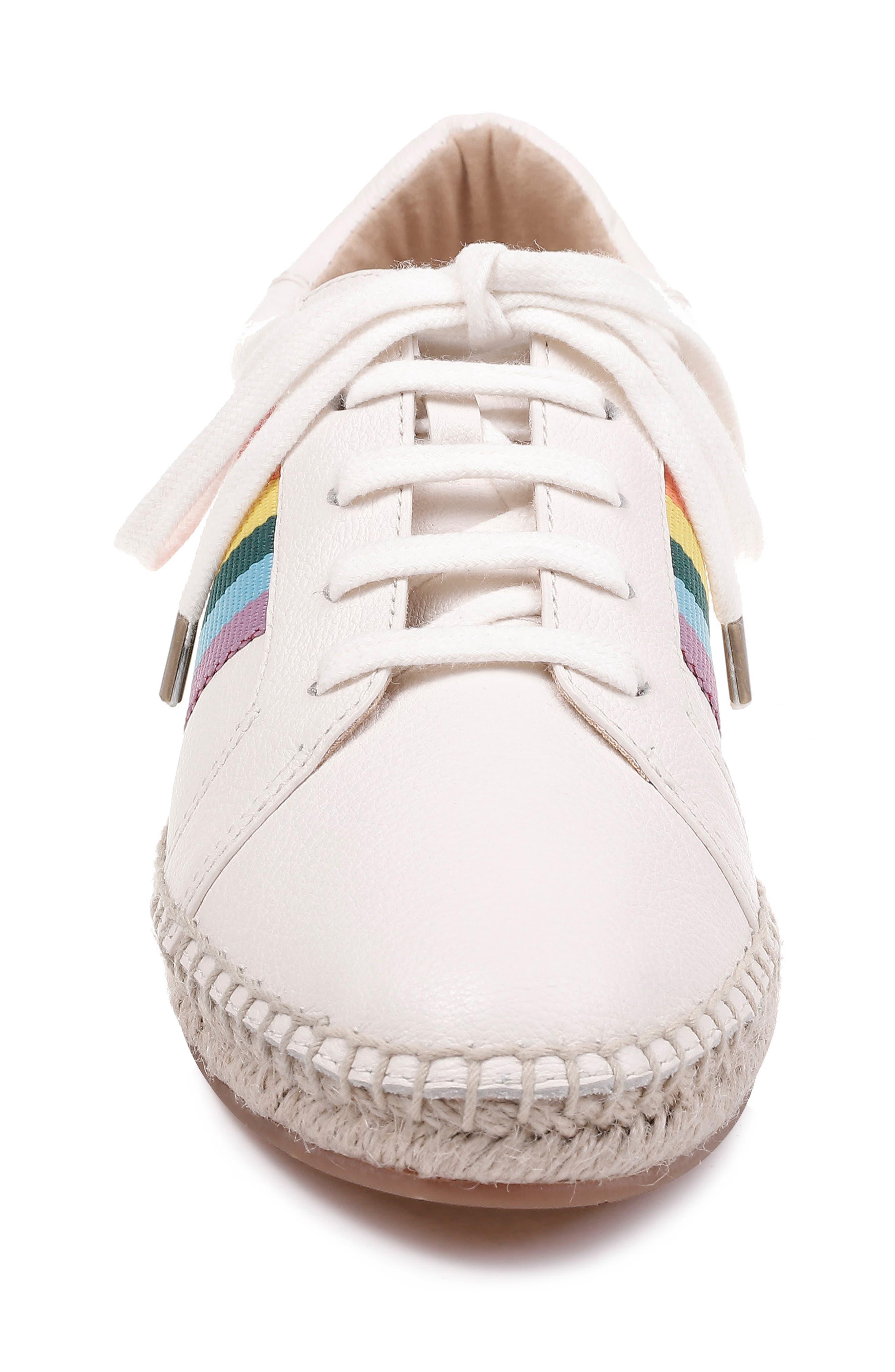 SPLENDID, Sada Espadrille Sneaker, Alternate thumbnail 4, color, OFF WHITE LEATHER