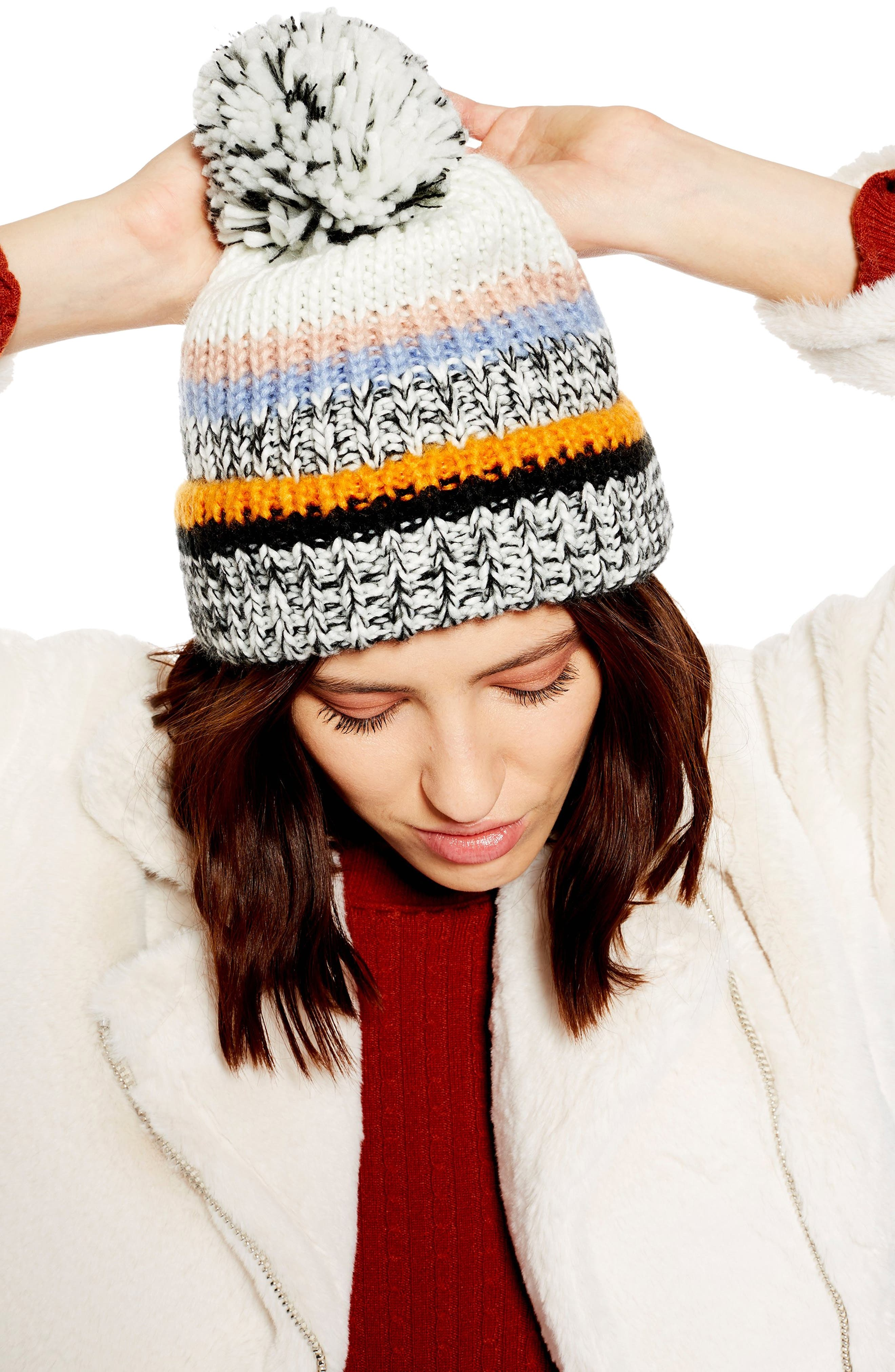 TOPSHOP, Colorblock Stripe Knit Beanie, Alternate thumbnail 3, color, 800