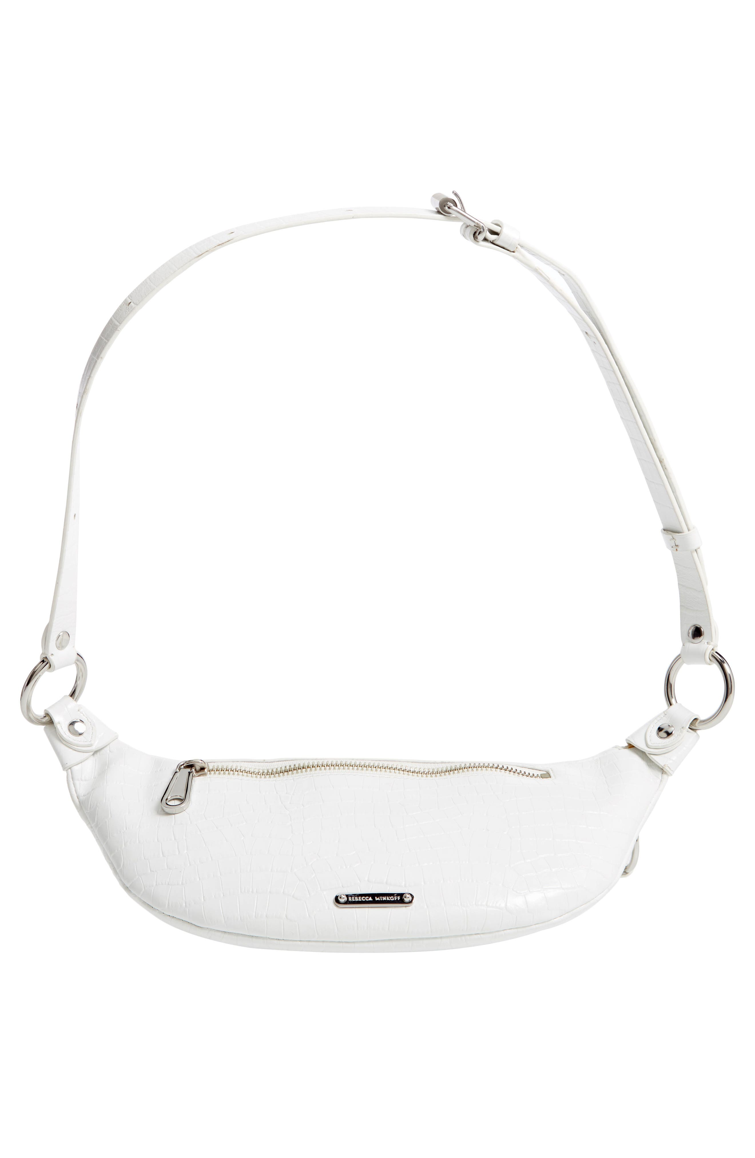 REBECCA MINKOFF, Bree Croc Embossed Leather Belt Bag, Alternate thumbnail 8, color, OPTIC WHITE