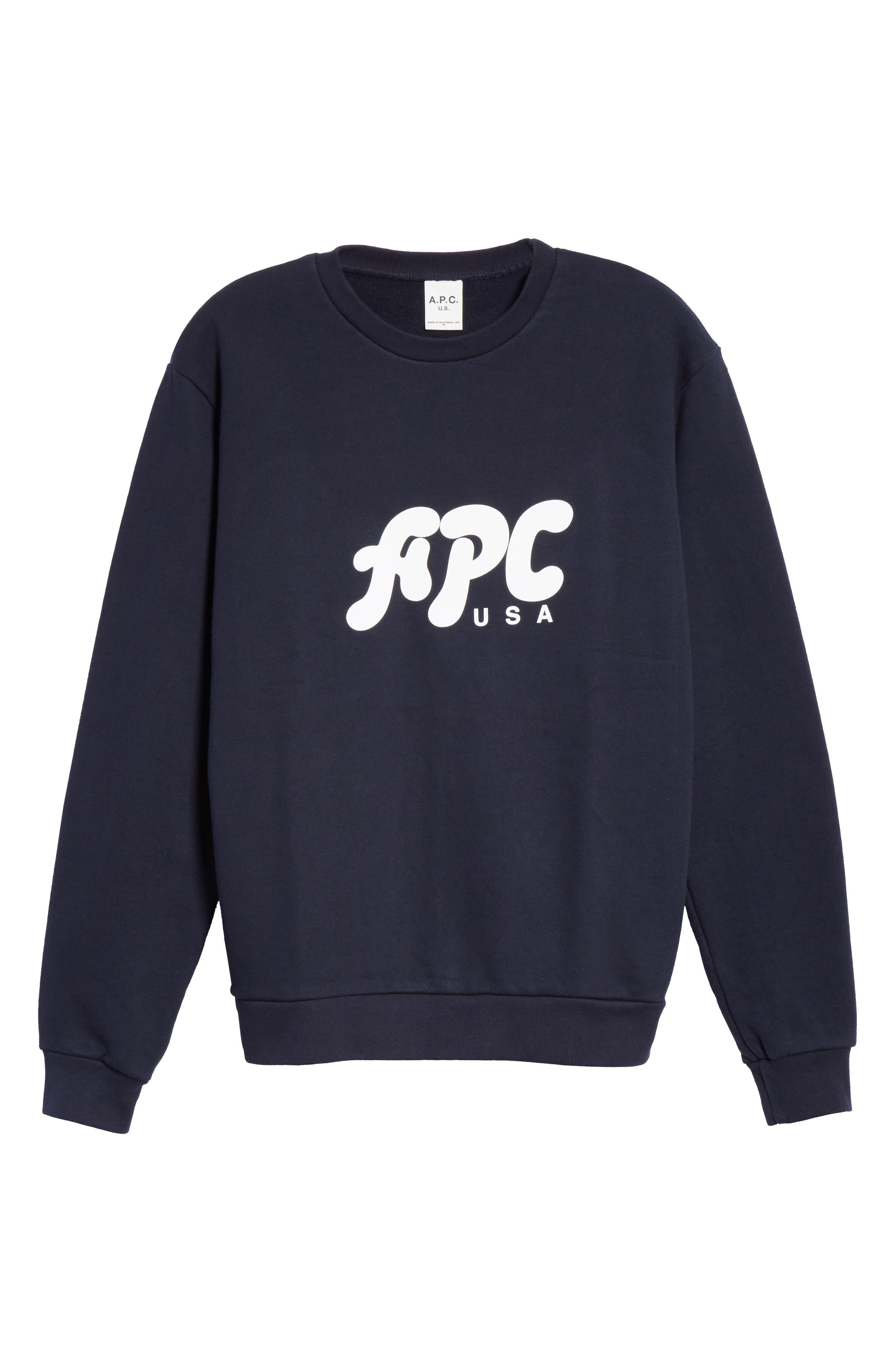 A.P.C., New Logo Crewneck Sweatshirt, Alternate thumbnail 6, color, IAK NAVY
