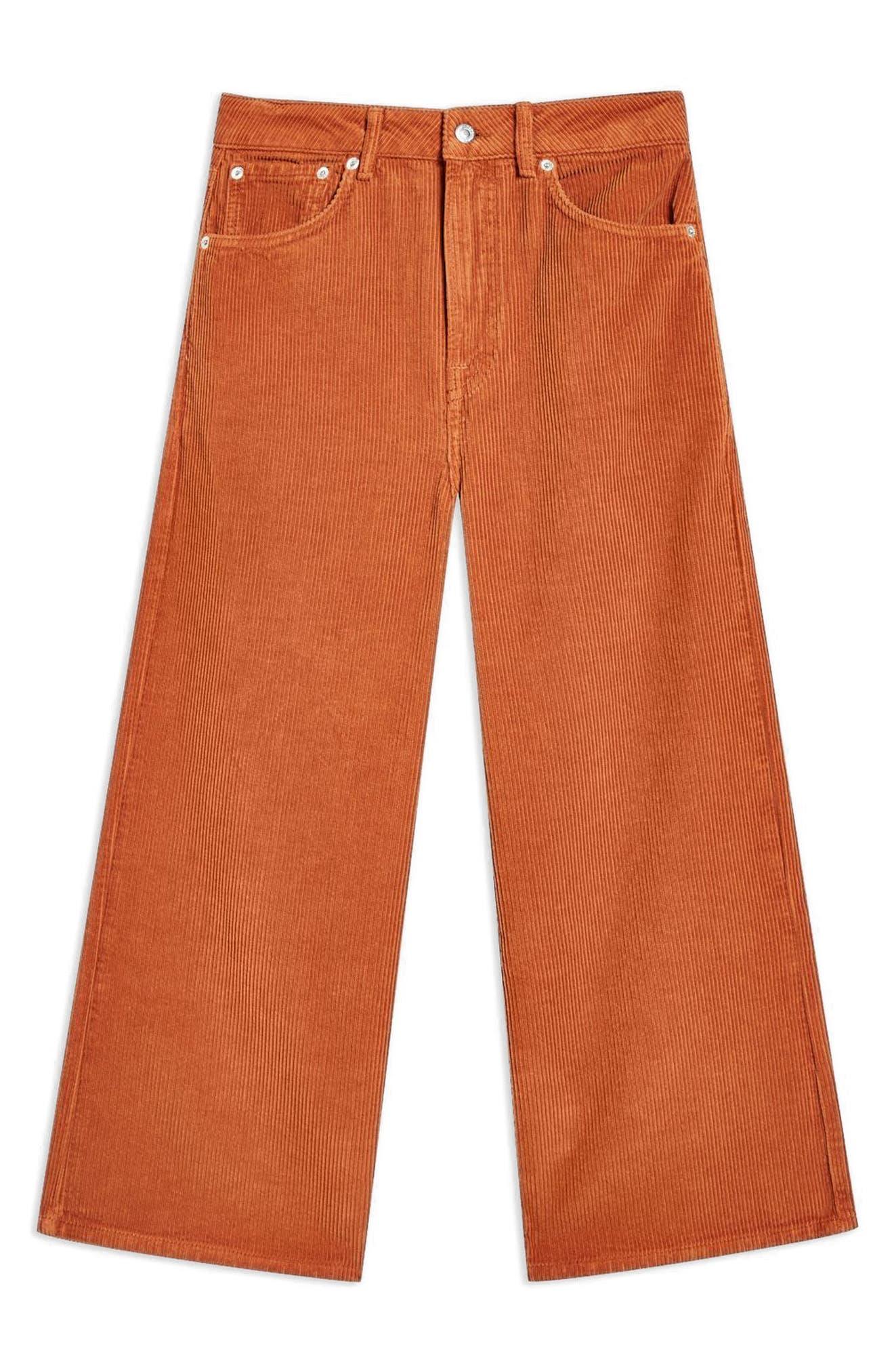 TOPSHOP, Wide Leg Corduroy Trousers, Alternate thumbnail 4, color, 210