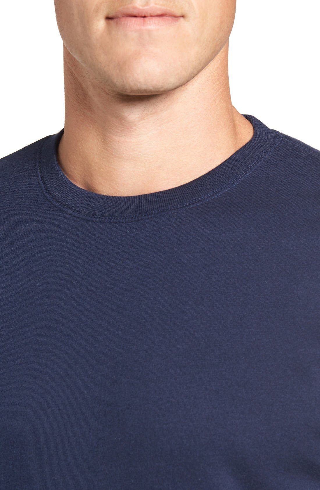 POLO RALPH LAUREN, Brushed Jersey Cotton Blend Crewneck Sweatshirt, Alternate thumbnail 8, color, CRUISE NAVY