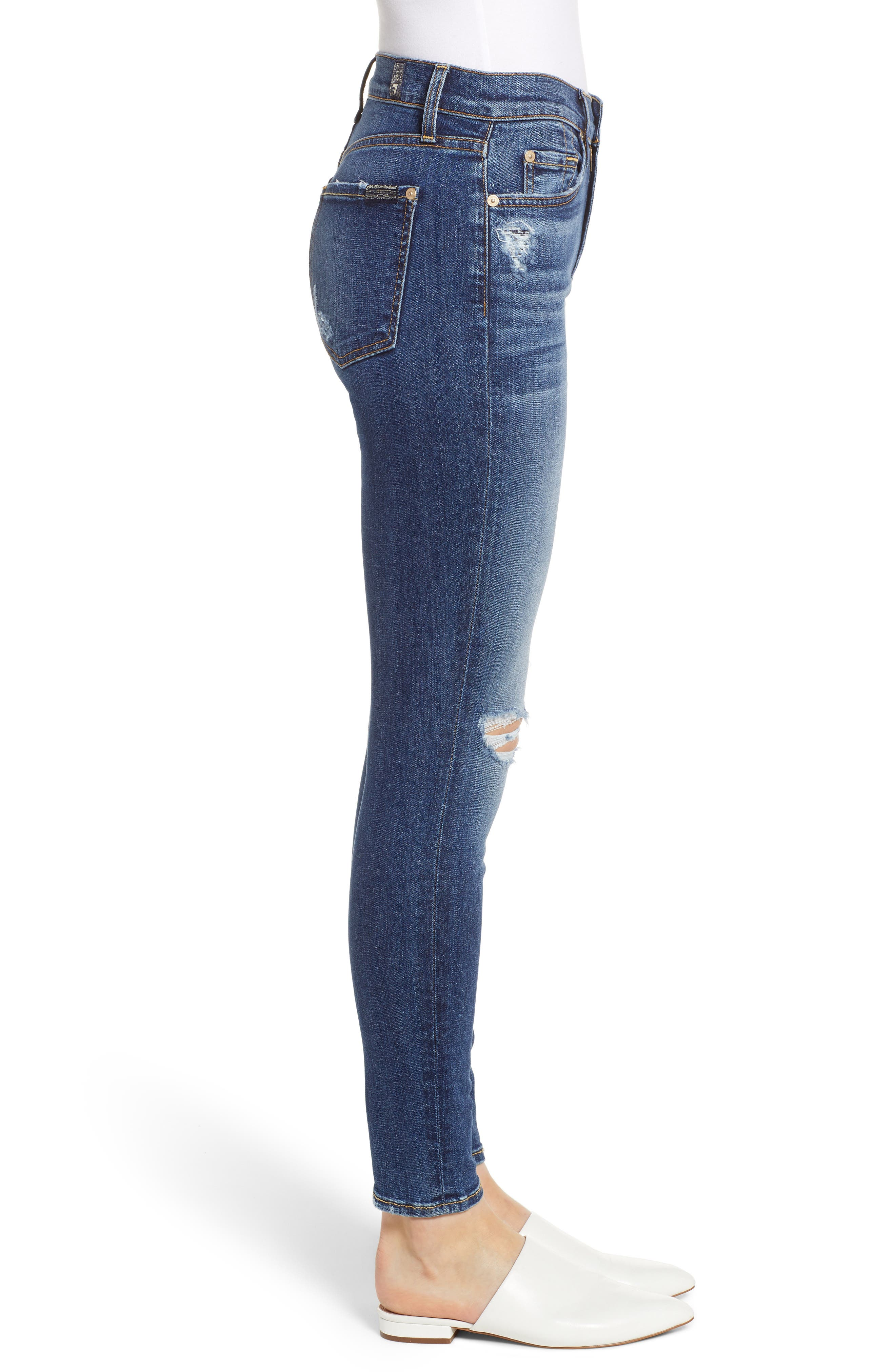 7 FOR ALL MANKIND<SUP>®</SUP>, Ankle Skinny Jeans, Alternate thumbnail 4, color, BLUE MONDAY
