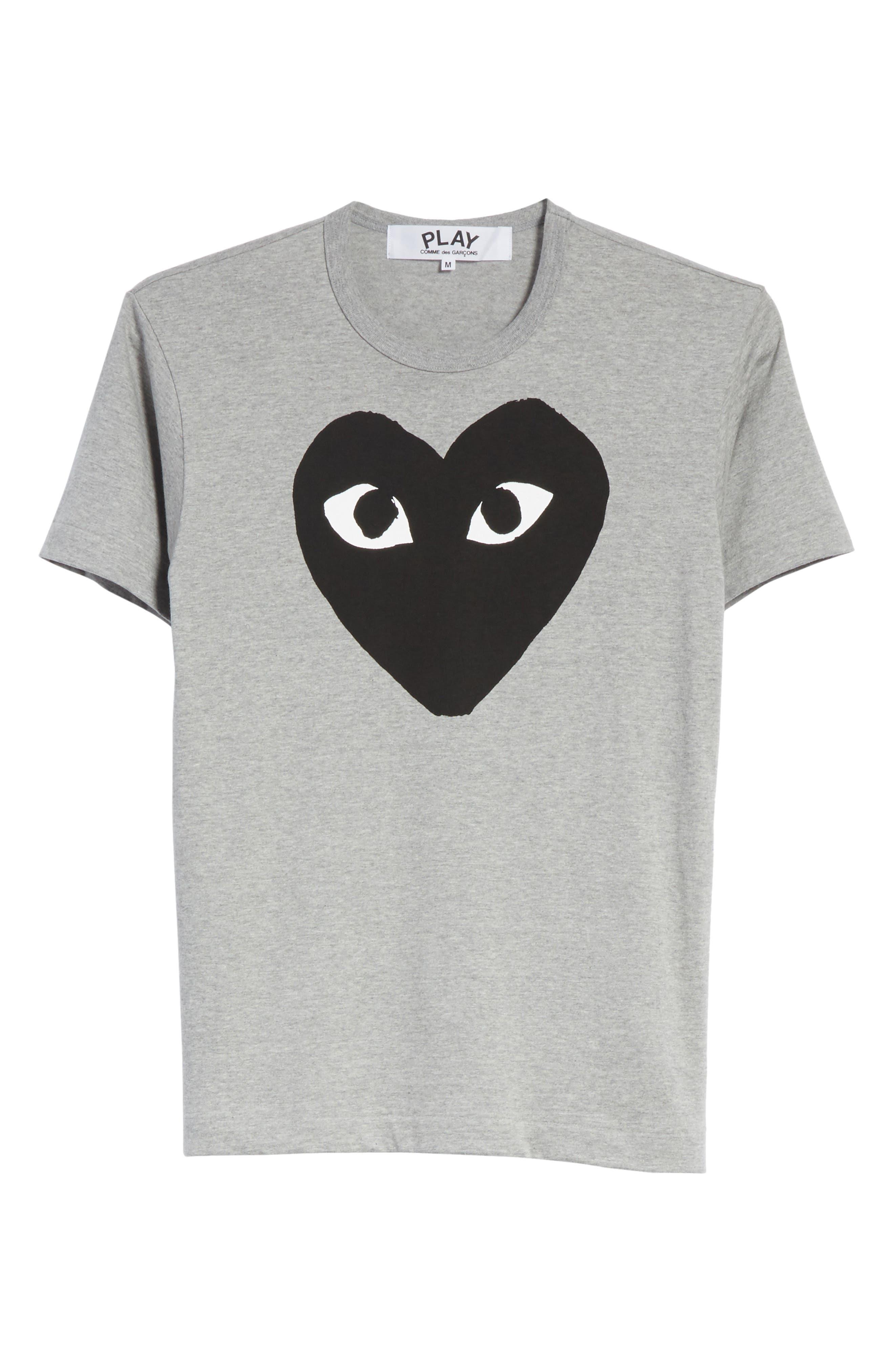COMME DES GARÇONS PLAY, Logo Graphic Crewneck T-Shirt, Alternate thumbnail 6, color, TOP DYED GRAY