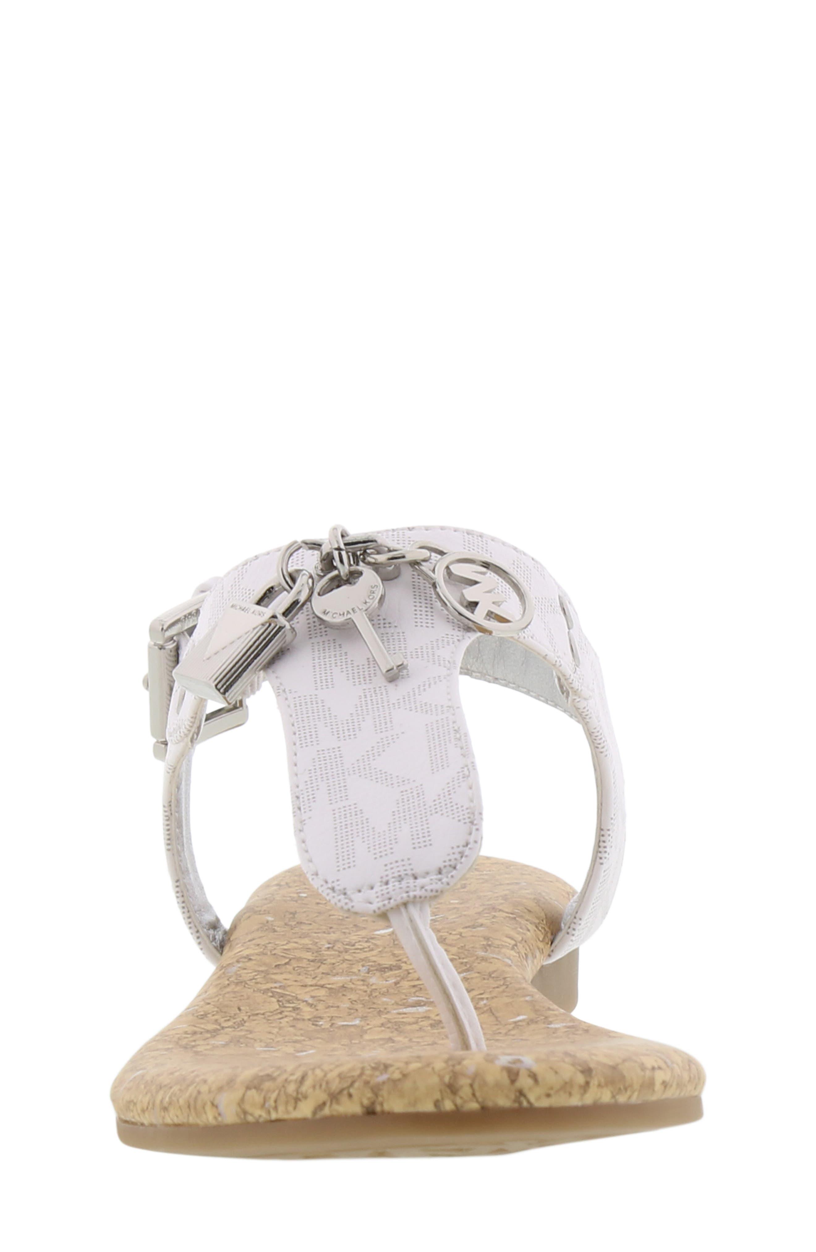 MICHAEL MICHAEL KORS, Tilly Cora Charm T-Strap Sandal, Alternate thumbnail 4, color, WHITE LOGO